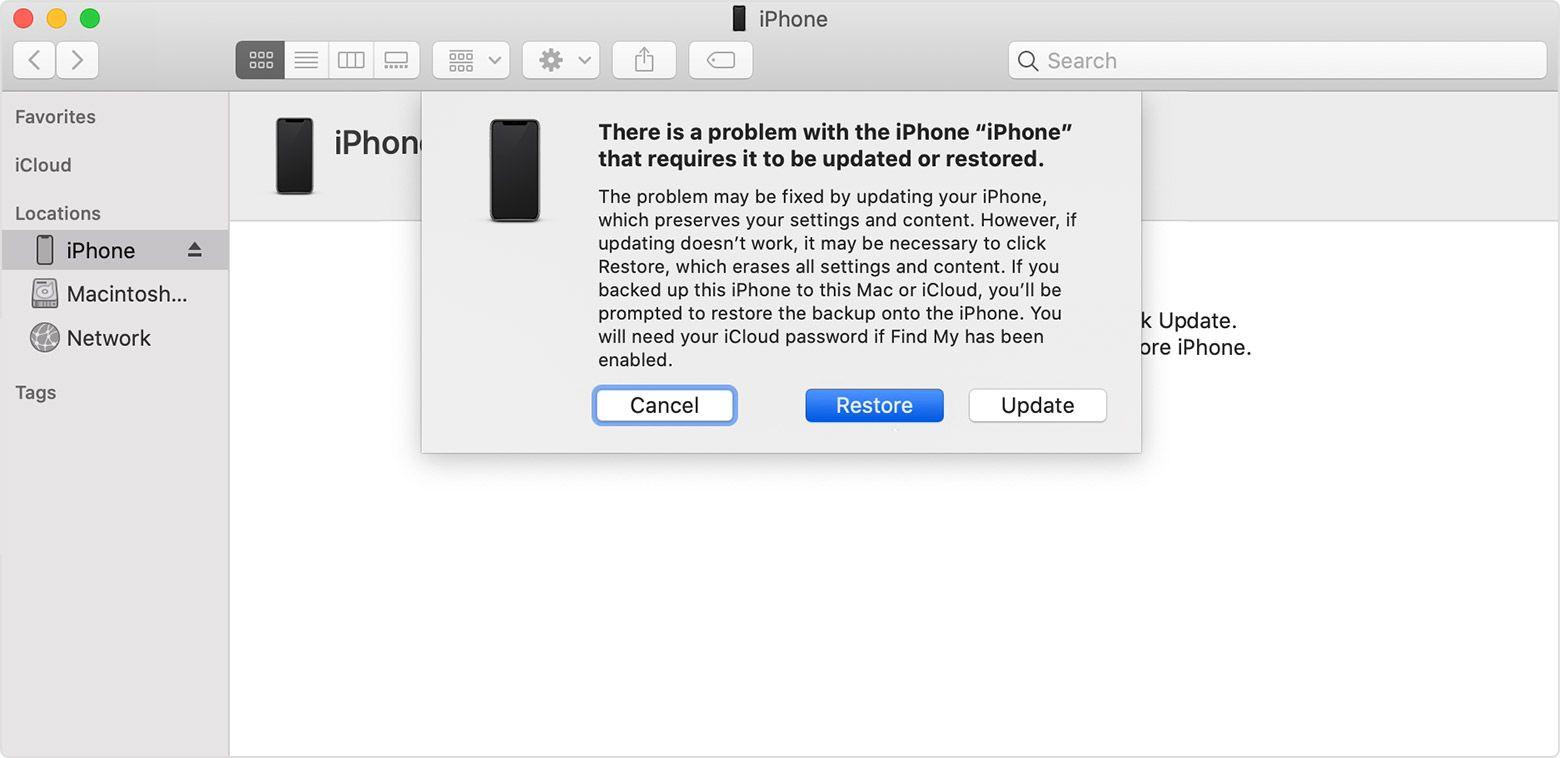 Pop-up para restaurar o iPhone
