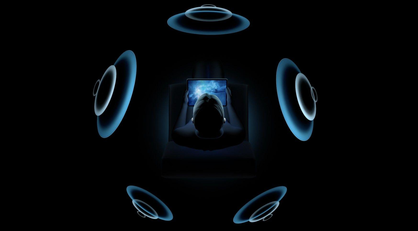 Ilustração do áudio espacial nos AirPods Pro