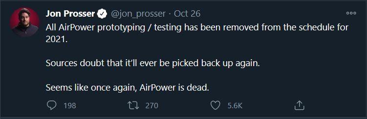 Captura de ecrã do tweet de Jon Prosser sobre o assunto