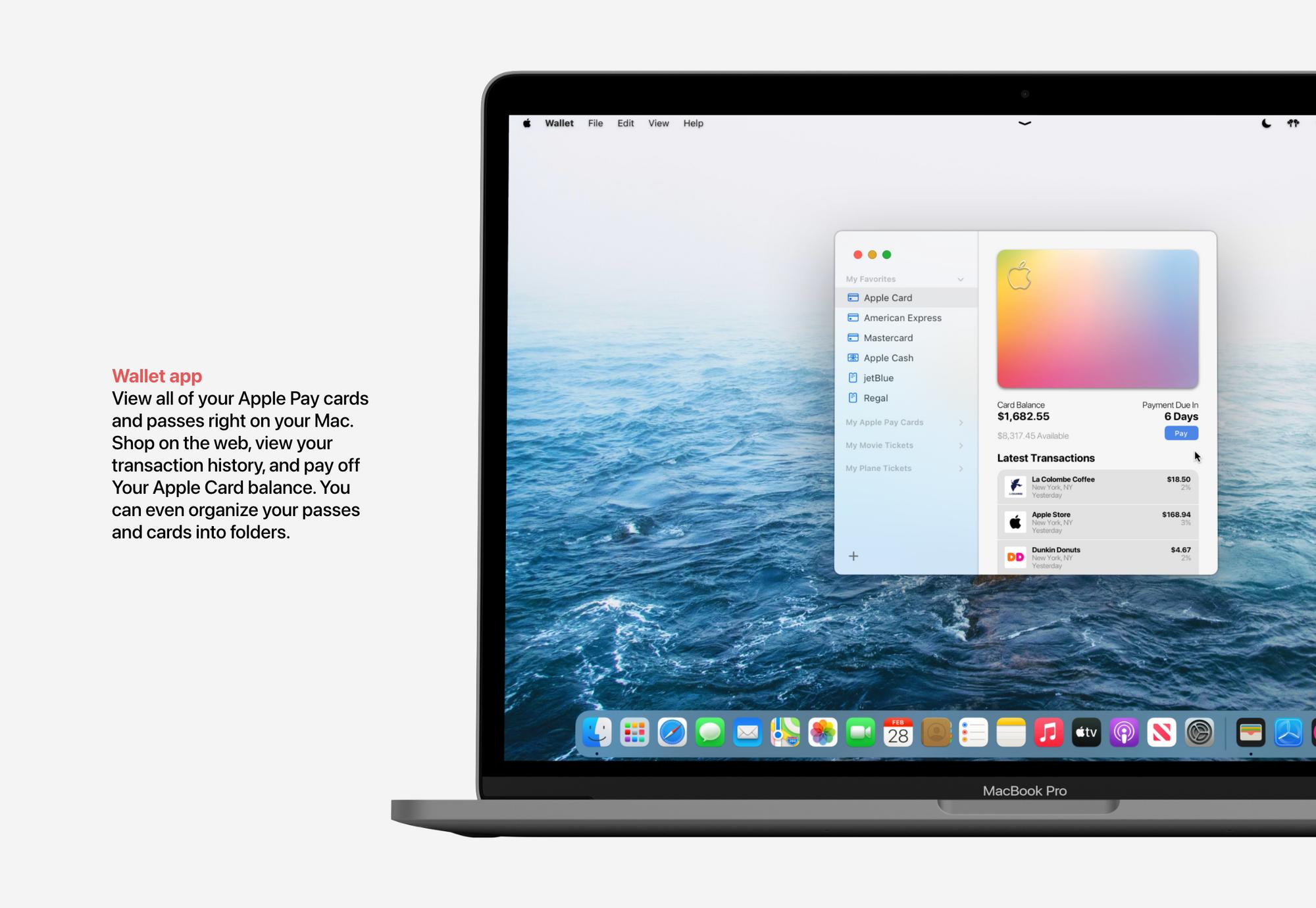 Aplicação Wallet no macOS Monterey