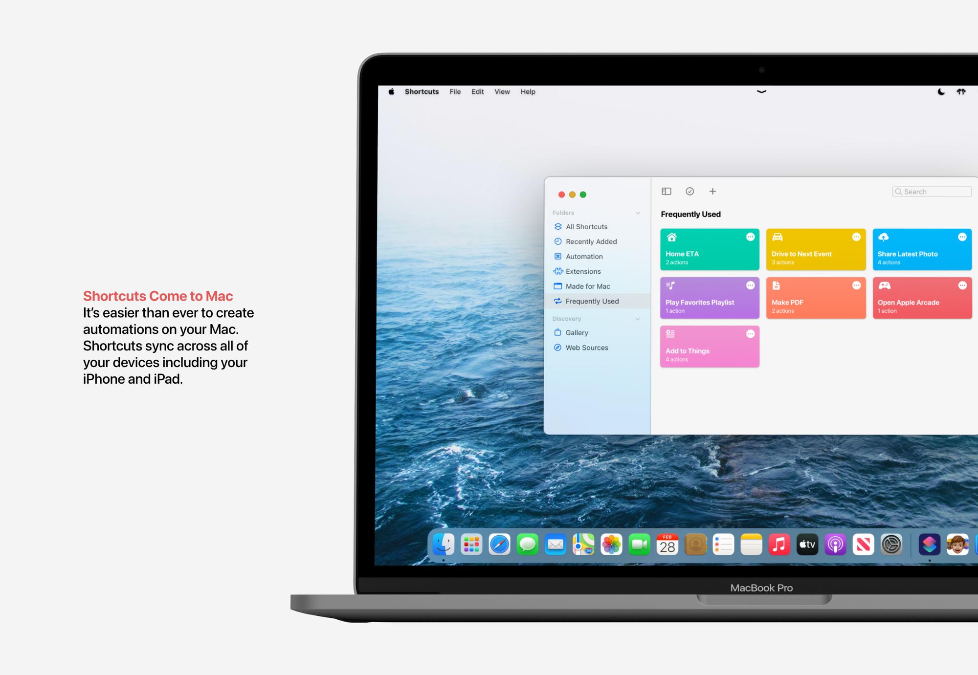 Aplicação Atalhos no macOS Monterey