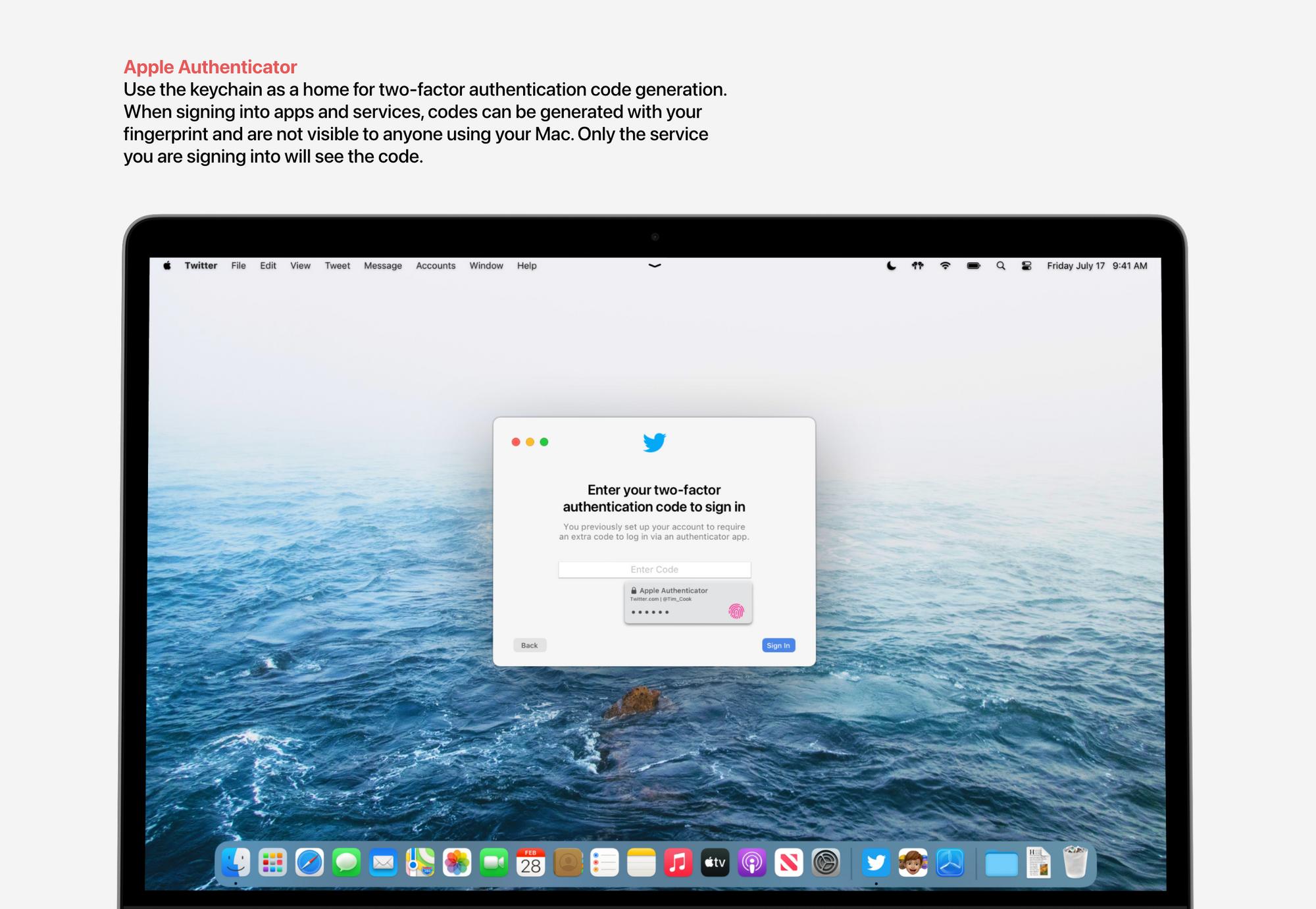 Autenticador da Apple no macOS Monterey