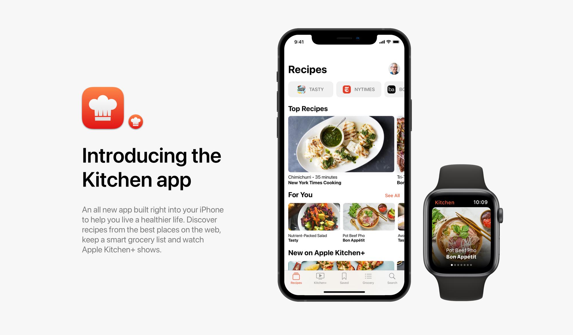 Conceito da Apple Kitchen para iPhone e Apple Watch