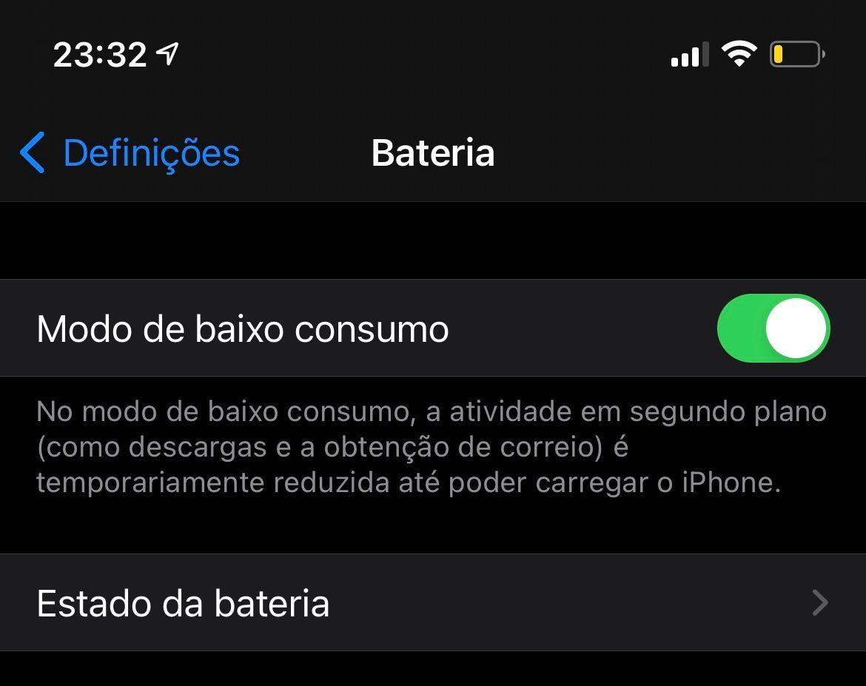 Modo de baixo consumo ativado no iPhone 12 Pro