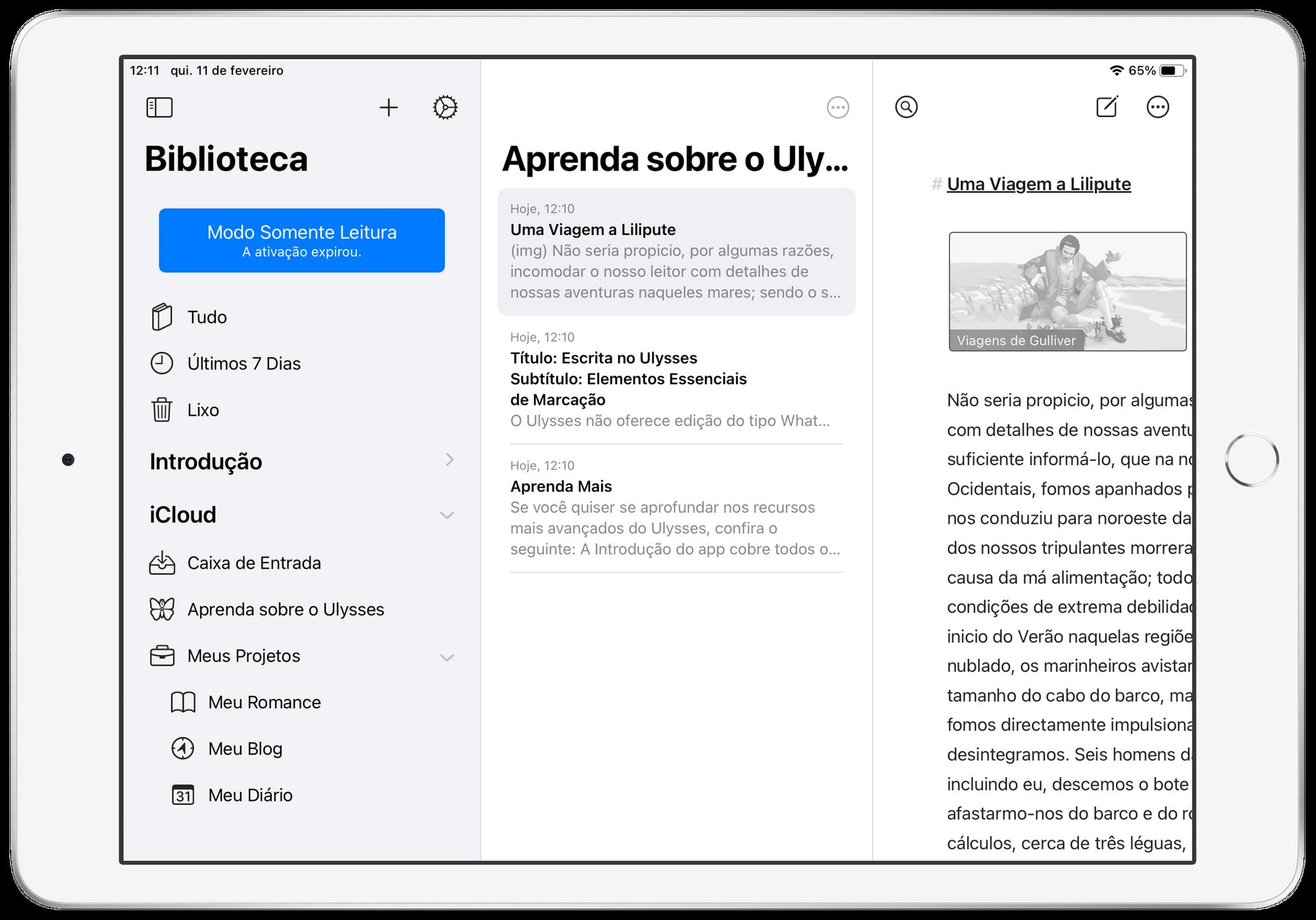 Ulysses no iPad.