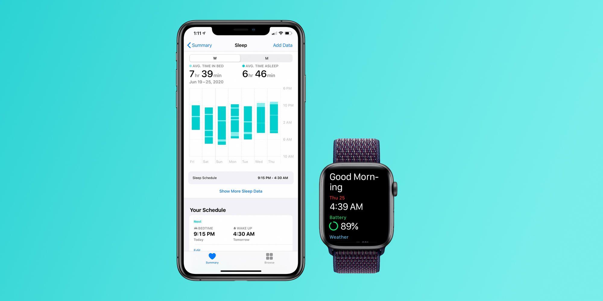 Secção 'Sono' na aplicação Saúde no iPhone e saudação de bom-dia no Apple Watch