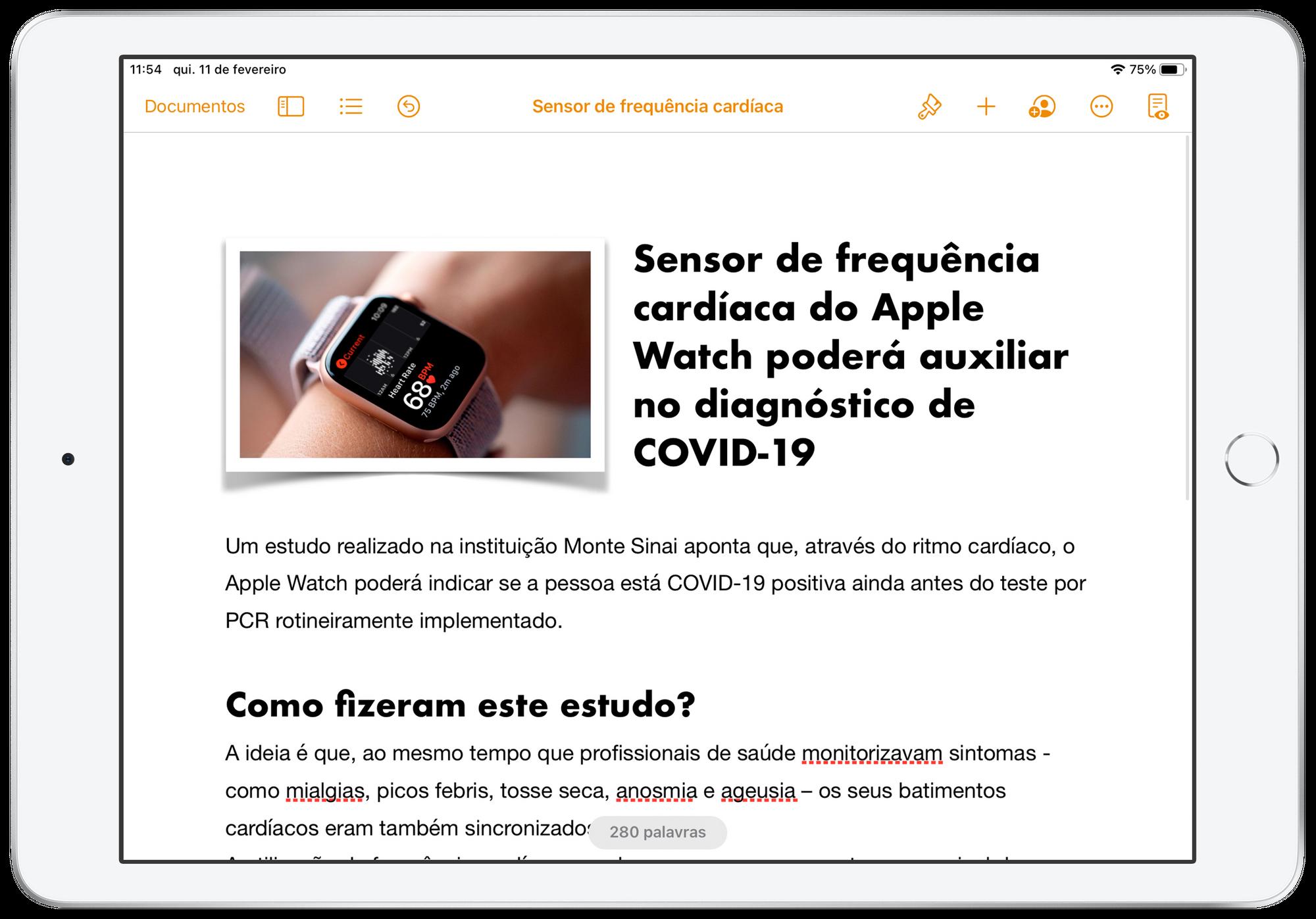 Pages no iPad e Mac.