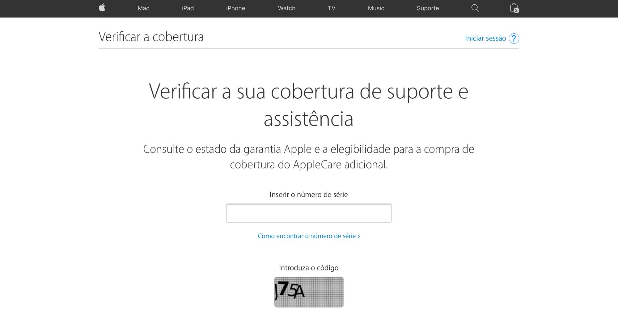 Site de verificação de cobertura da Apple