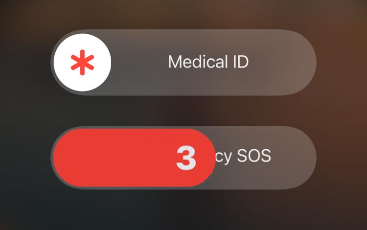 Contagem decrescente no recurso SOS emergência no iPhone