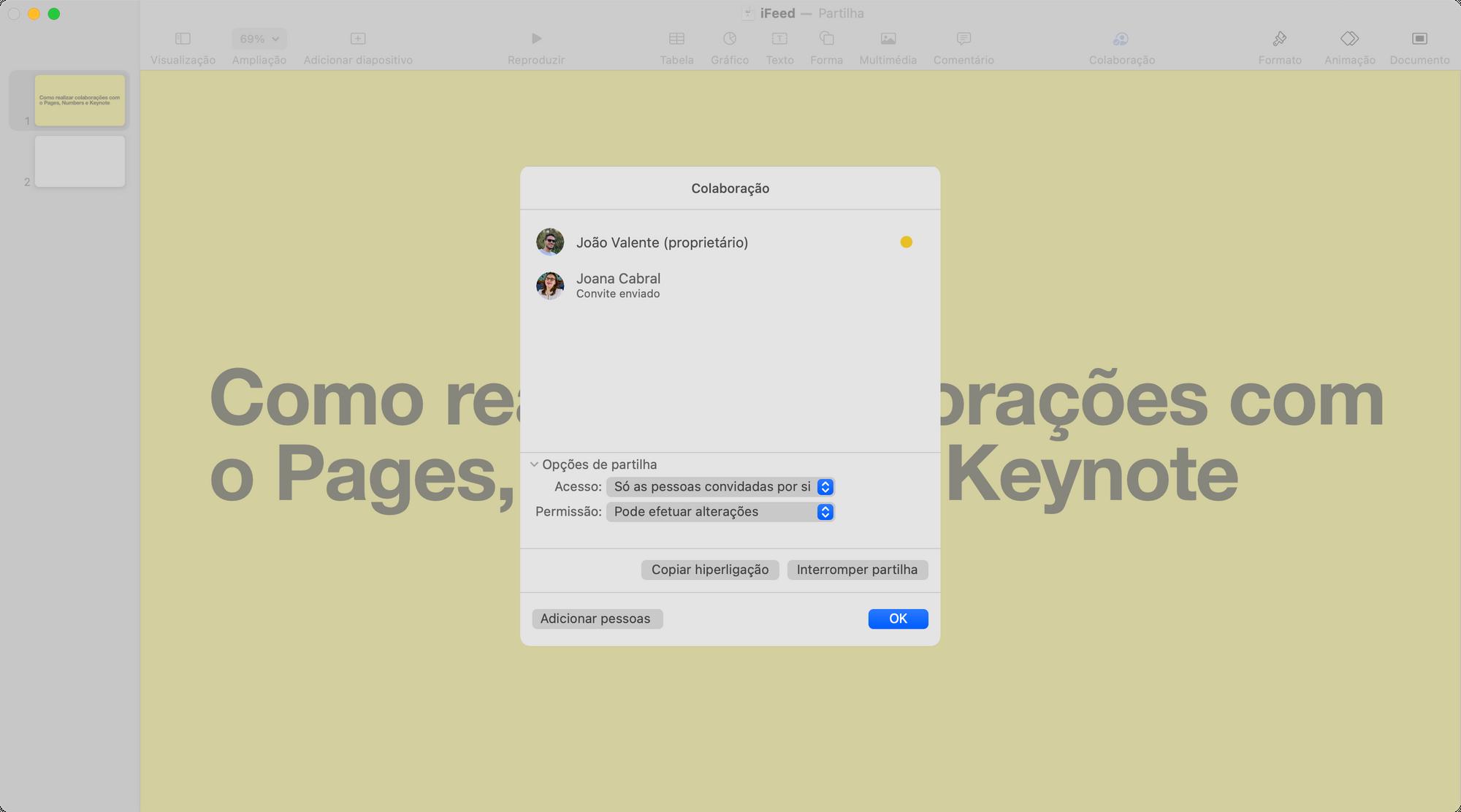 Opções de Colaboração no Keynote, Numbers e Pages da Apple