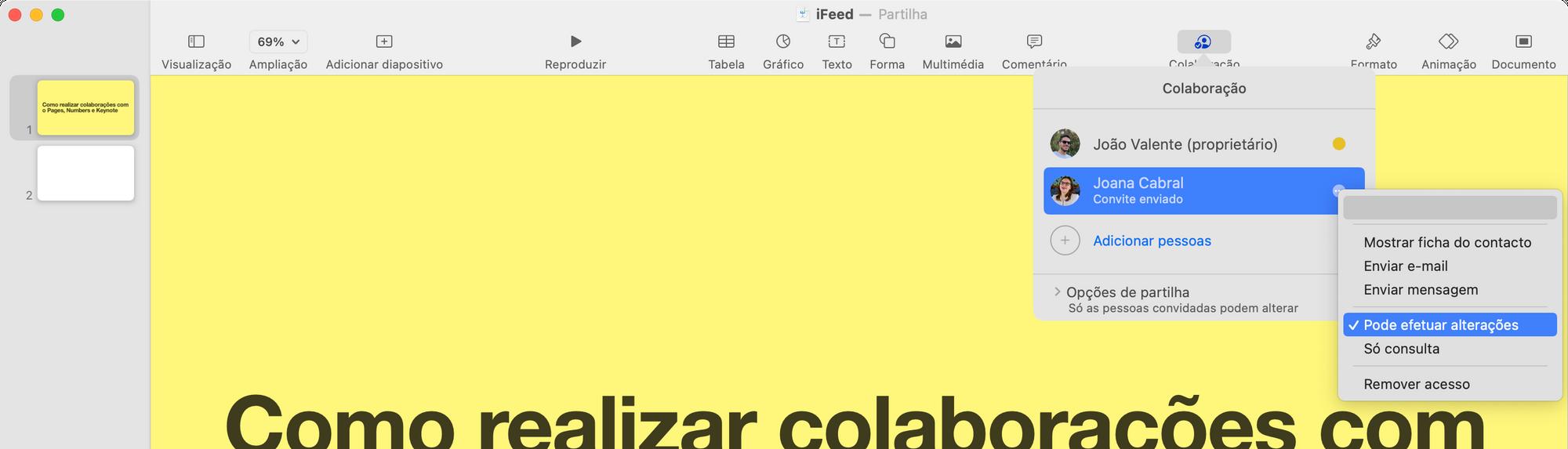 Alterar opções de colaboração no Keynote, Numbers e Pages da Apple