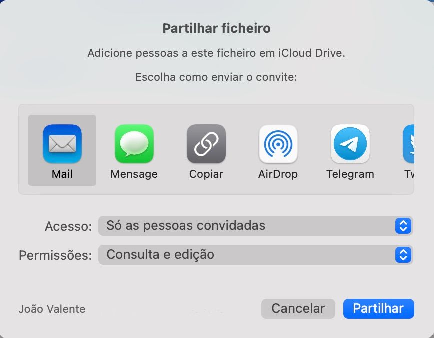 Vista de partilha de ficheiro no Keynote, Numbers e Pages da Apple