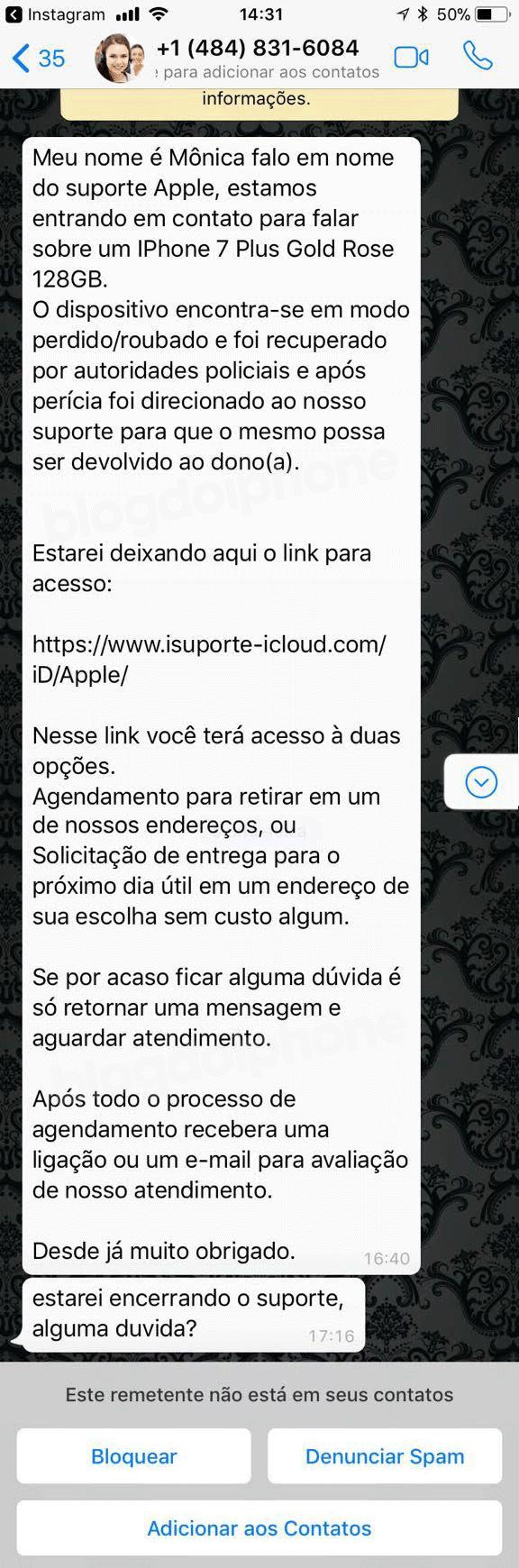 Mensagens fraudulentas no WhatsApp