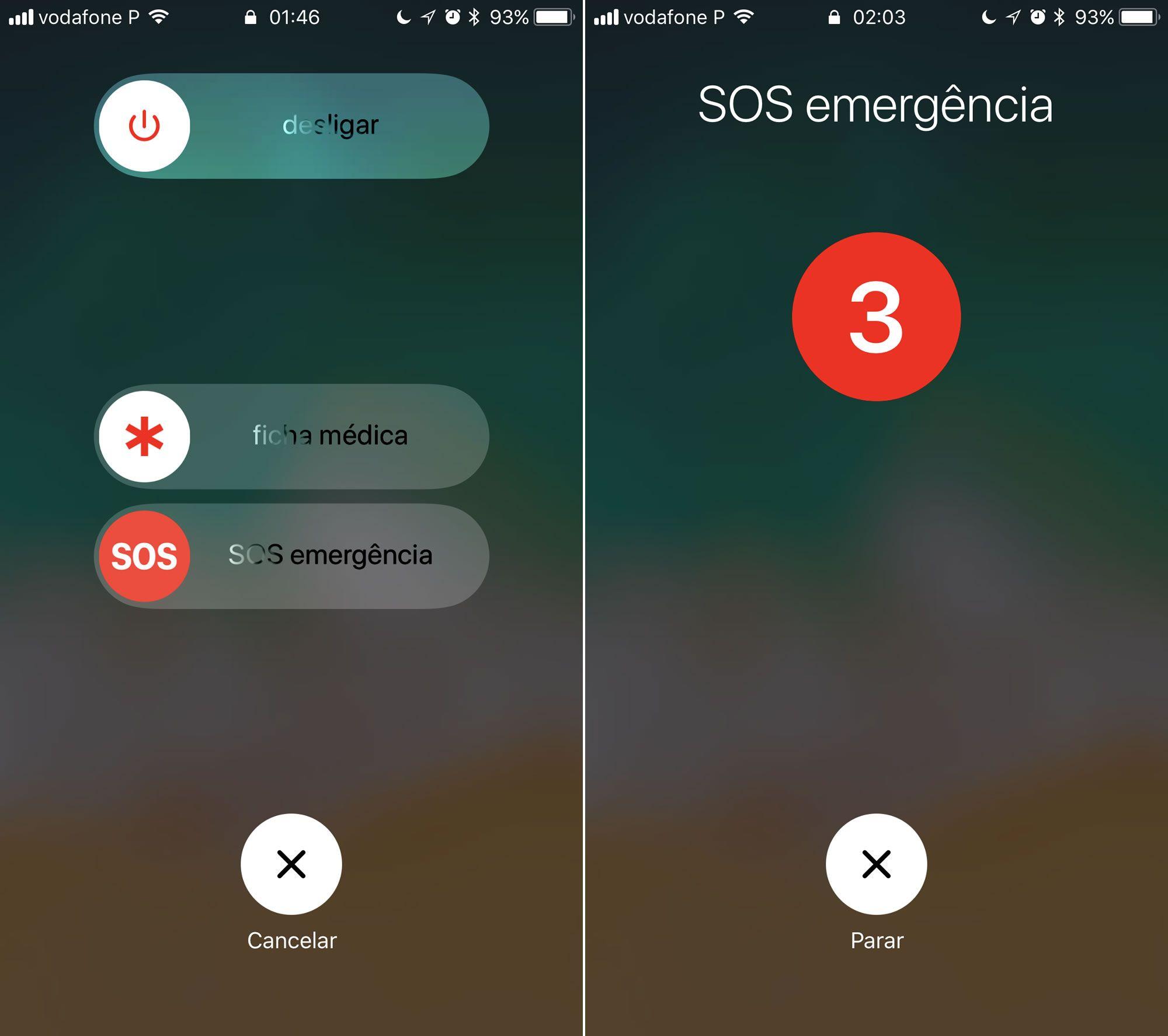 Recurso SOS emergência no iPhone