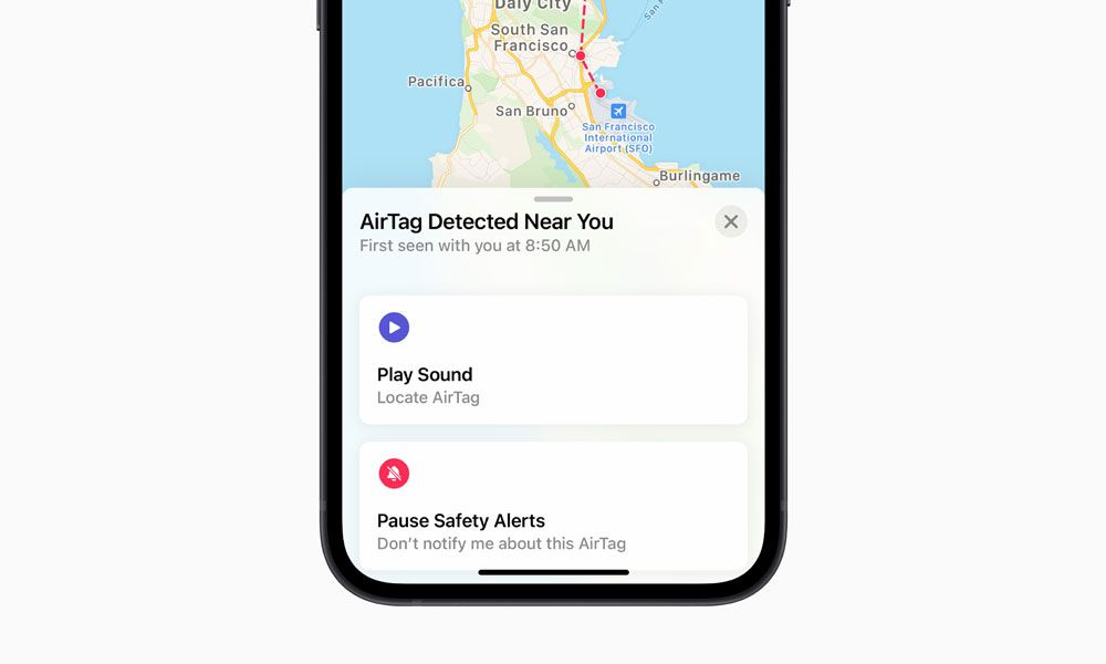 AirTag detetado na aplicação Encontrar