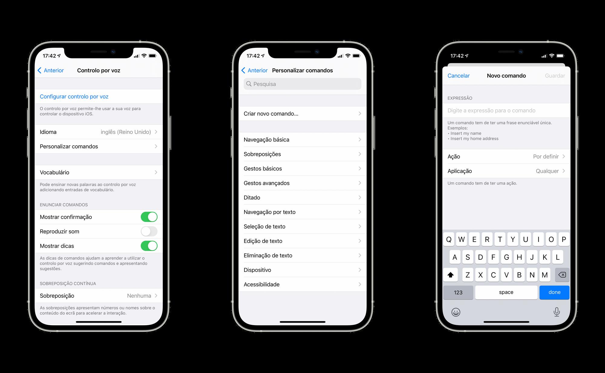 Criar um comando de voz personalizado no Controlo por voz do iPhone