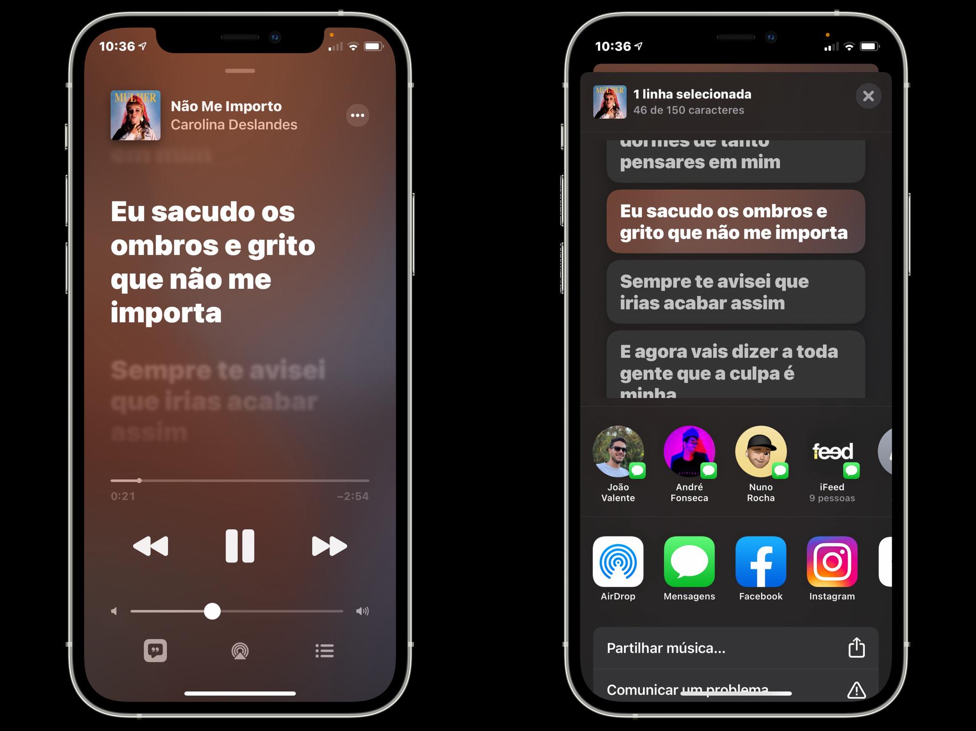 Partilha da letra na aplicação Música no iOS 14.5