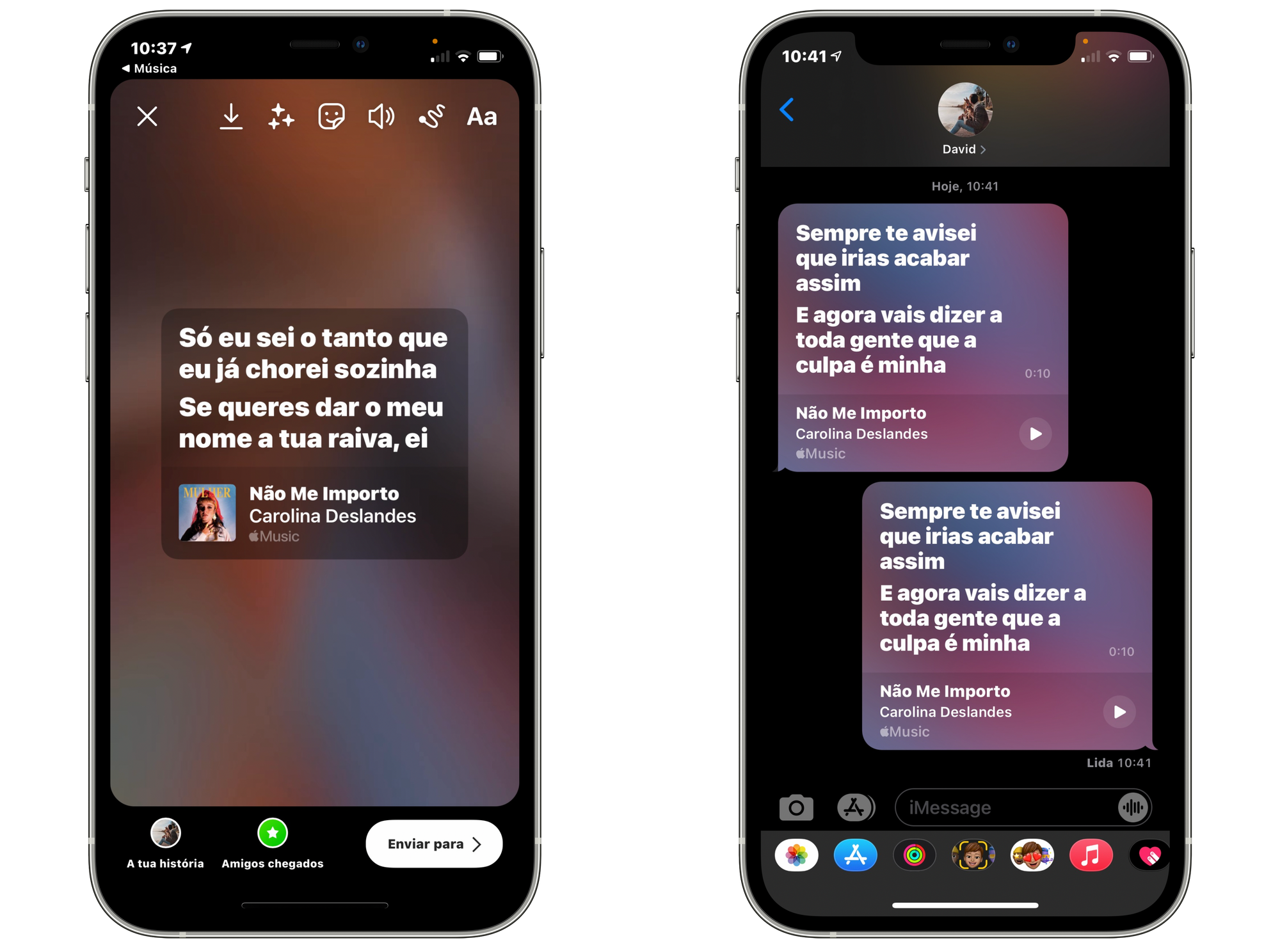 Partilha da letra no Instagram e iMessage através da aplicação Música no iOS 14.5