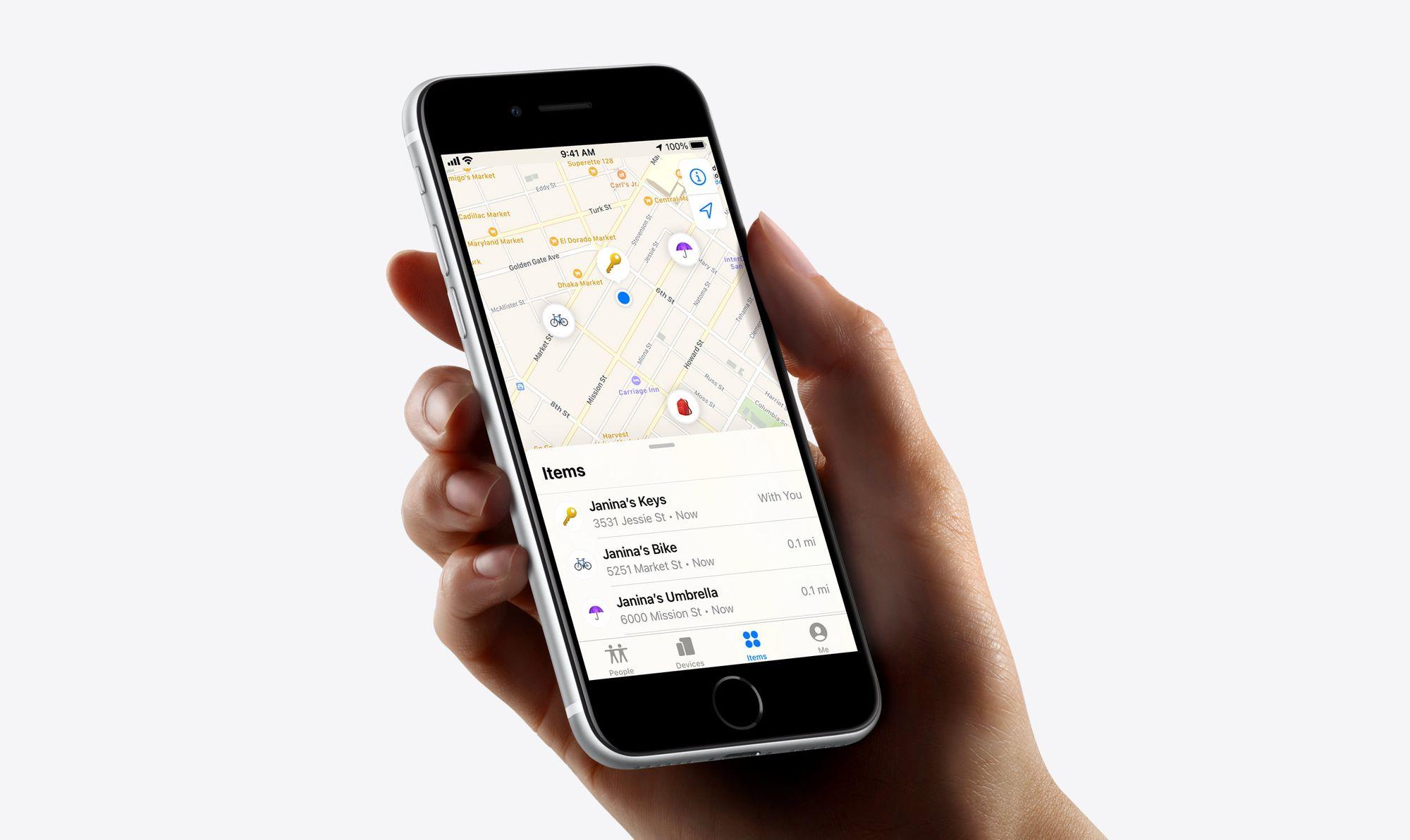Encontrar items na aplicação Encontrar no iPhone