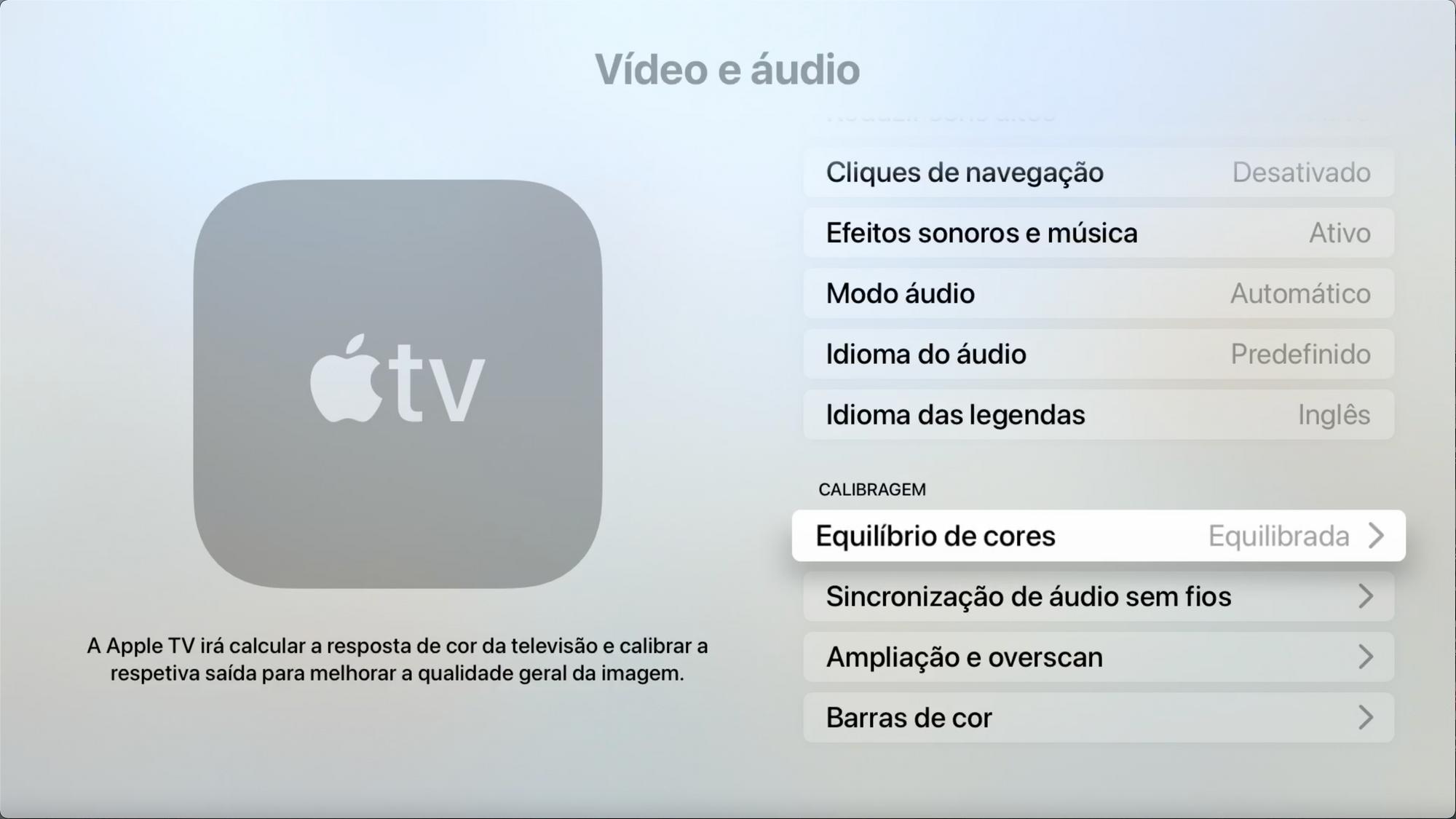 Menu Video e áudio - Equilíbrio de cores na Apple TV