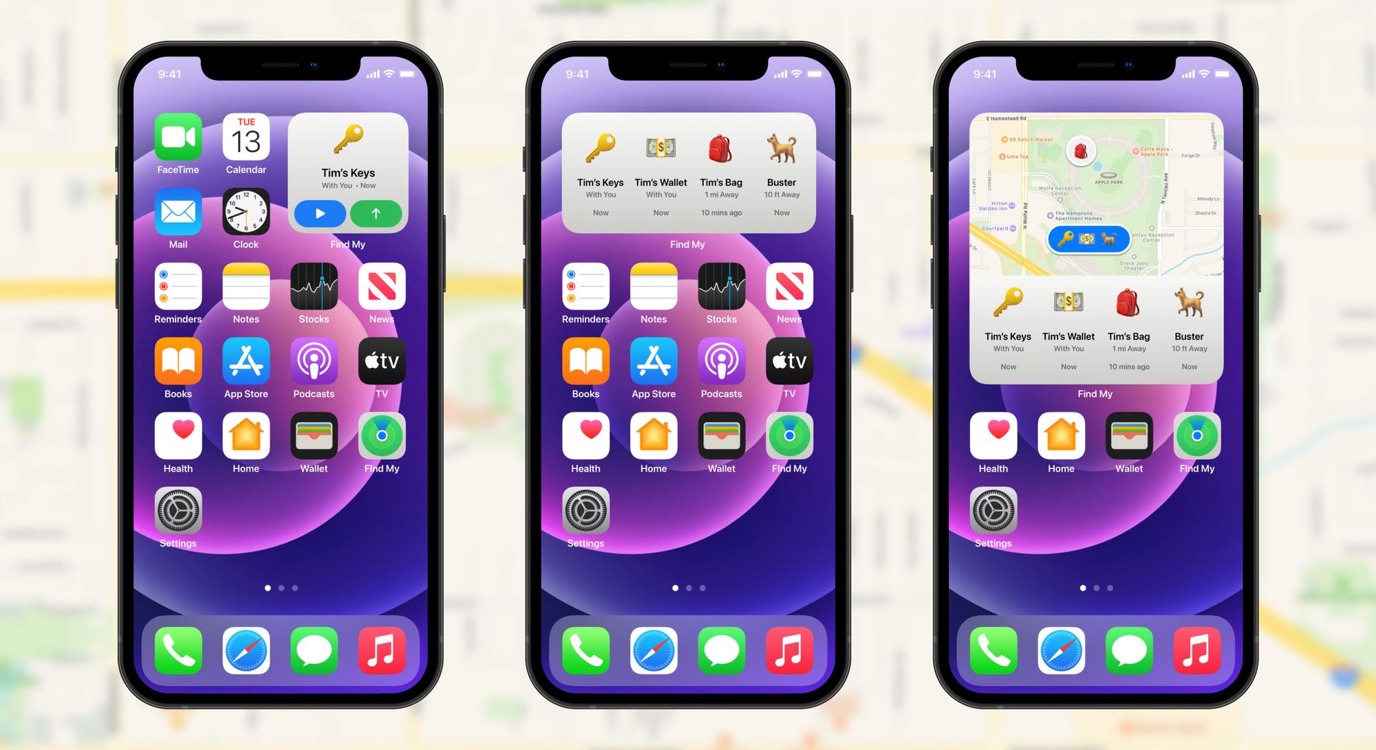 Widget da app Encontrar com objetos no ecrã principal do iPhone