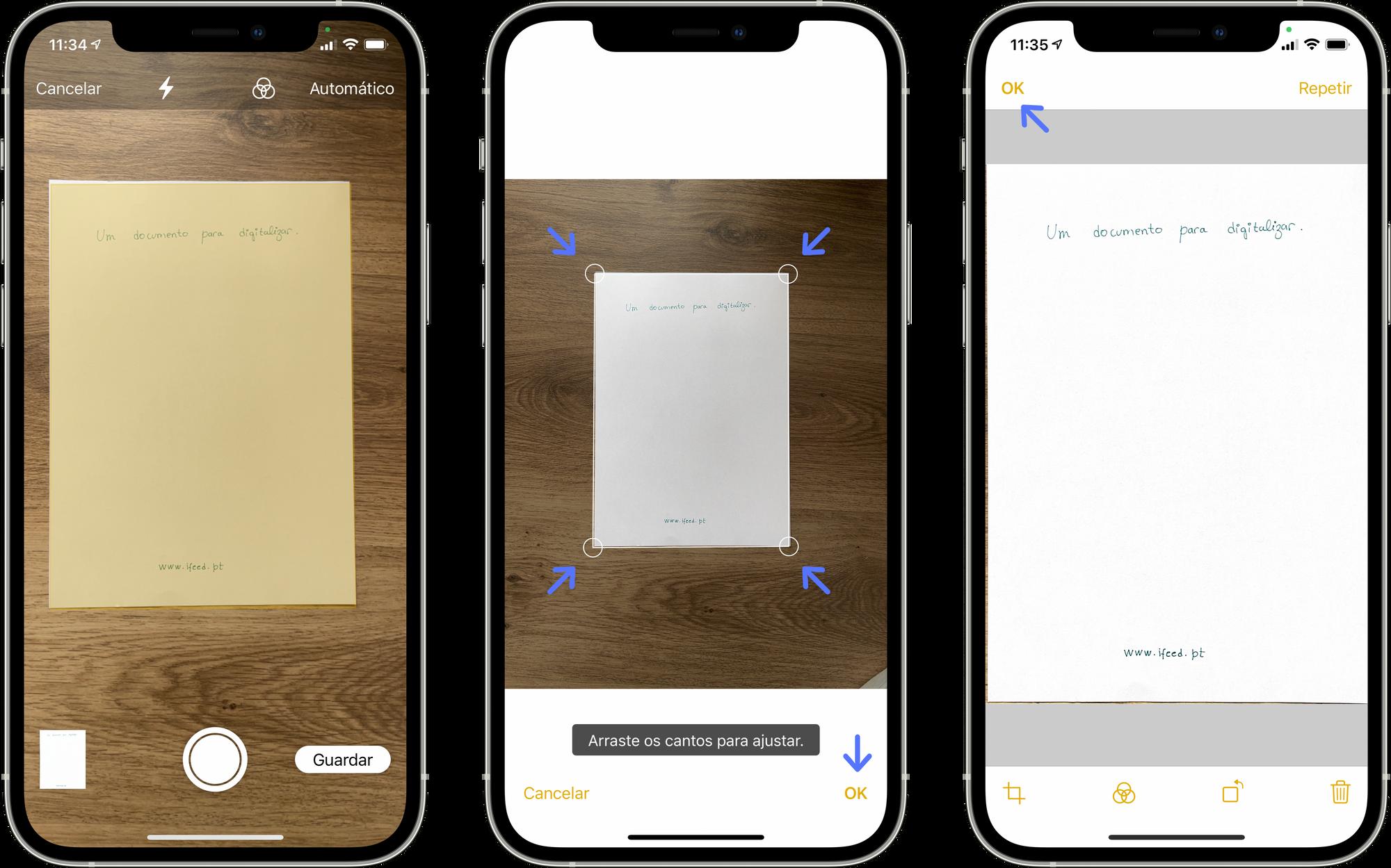 Digitalizar um documento na aplicação Notas no iPhone ou iPad