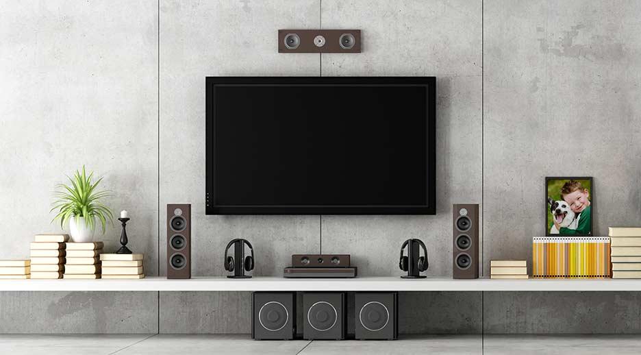 Exemplo de sistema de áudio em casa com Apple TV
