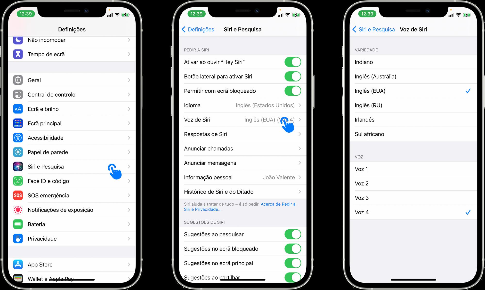 Alterar a voz ou variedade da Siri no iOS ou iPadOS