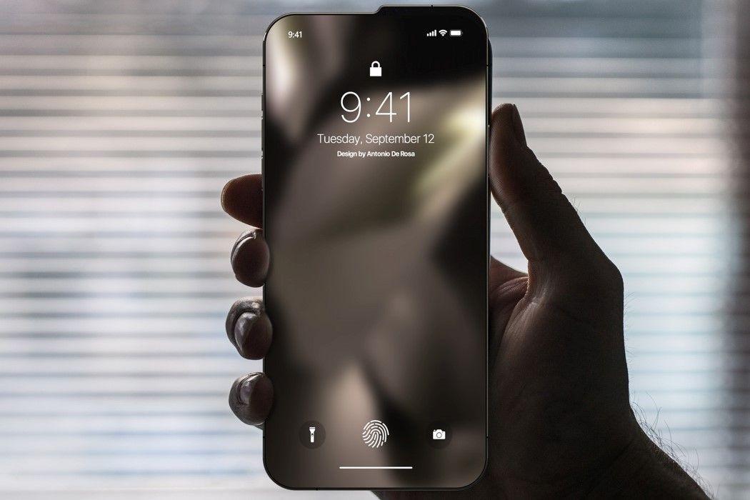 Ausência de moldura e Touch-ID embutido no ecrã no conceito do iPhone M1