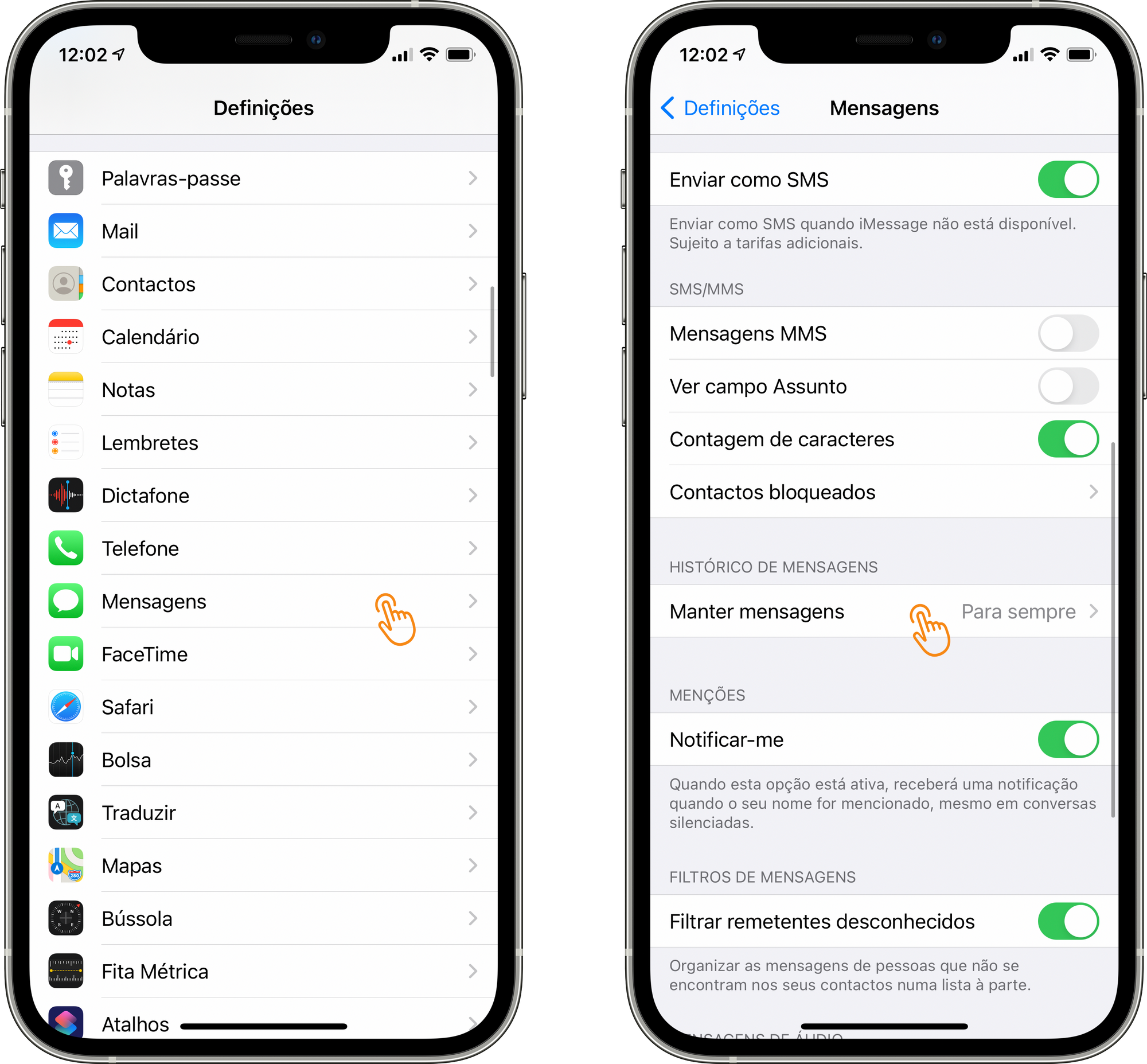 Apagar mensagens antigas do armazenamento do iPhone