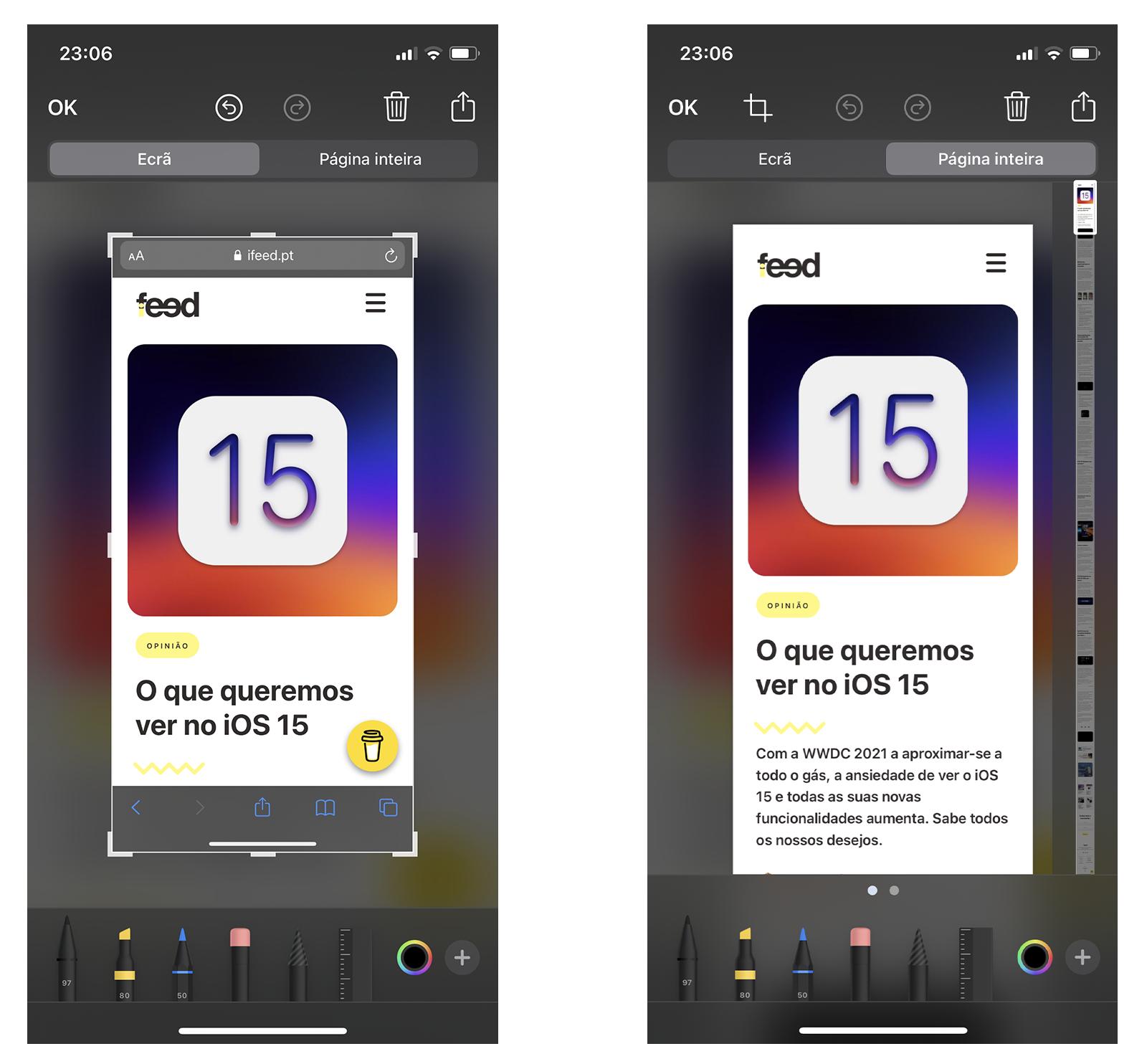 Tirar capturas de ecrã a uma página web inteira no Safari iPhone iOS