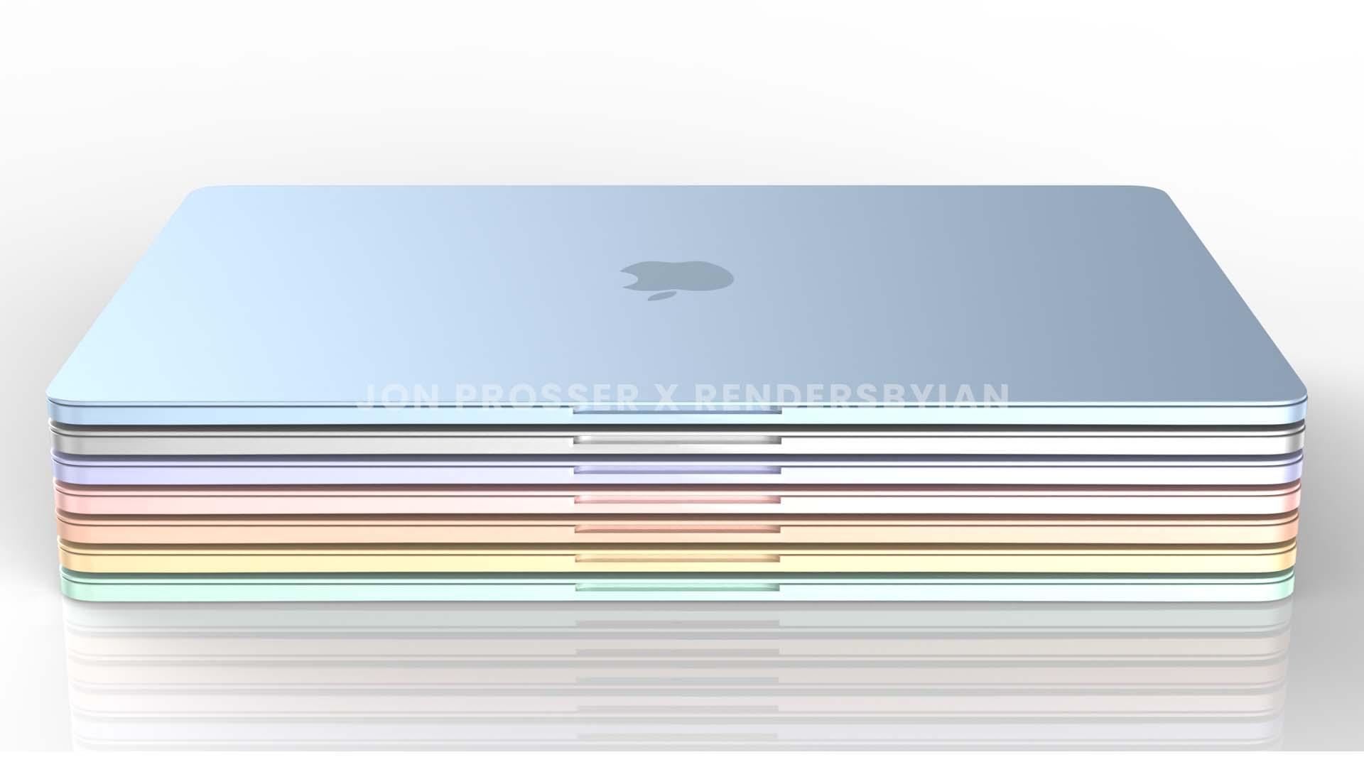 Todas as possíveis cores do futuro MacBook Air com processador M2