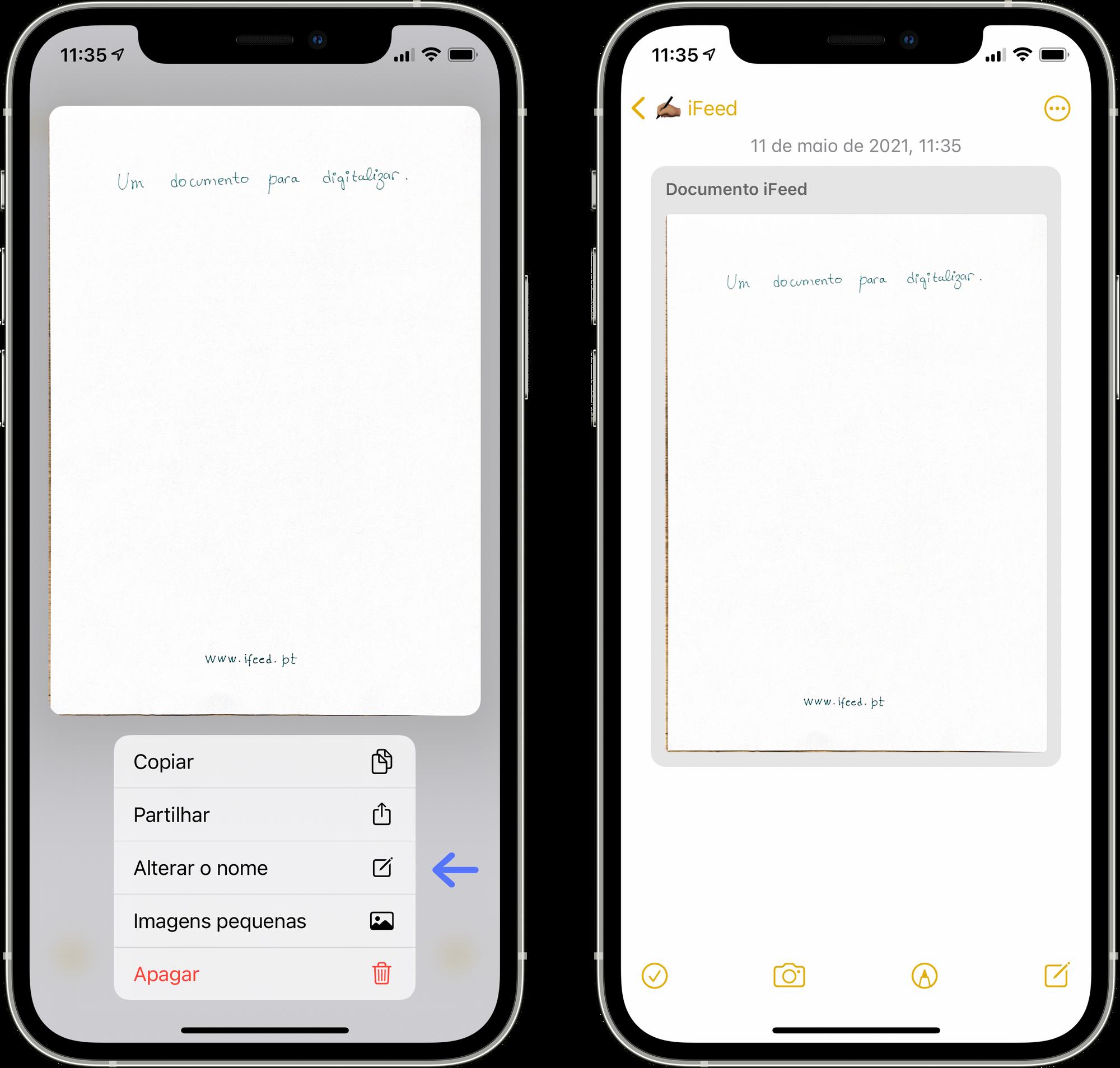 Alterar o nome de um documento digitalizado na app Notas no iPhone ou iPad