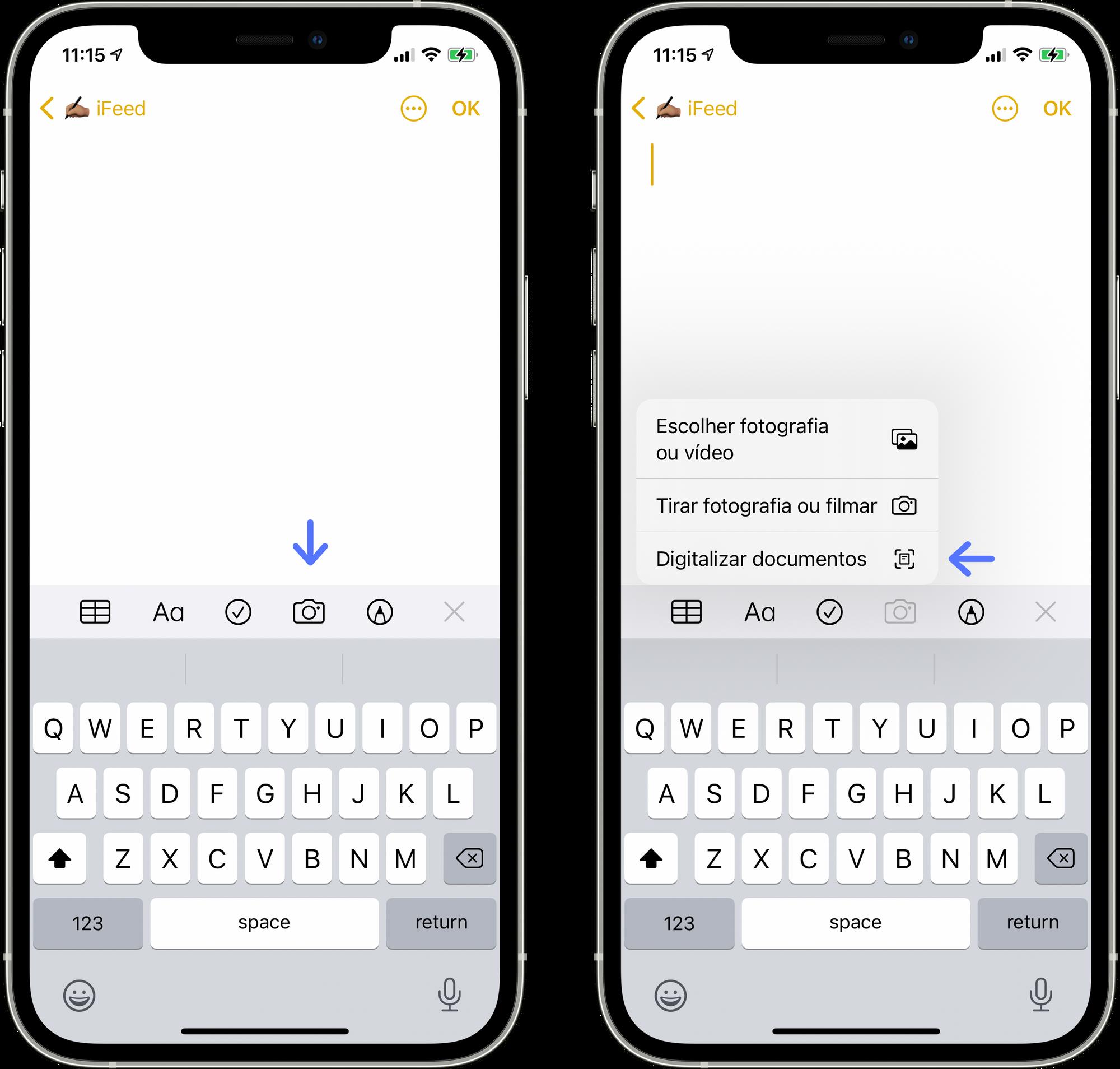 Iniciar a digitalização de um documento no iPhone ou iPad