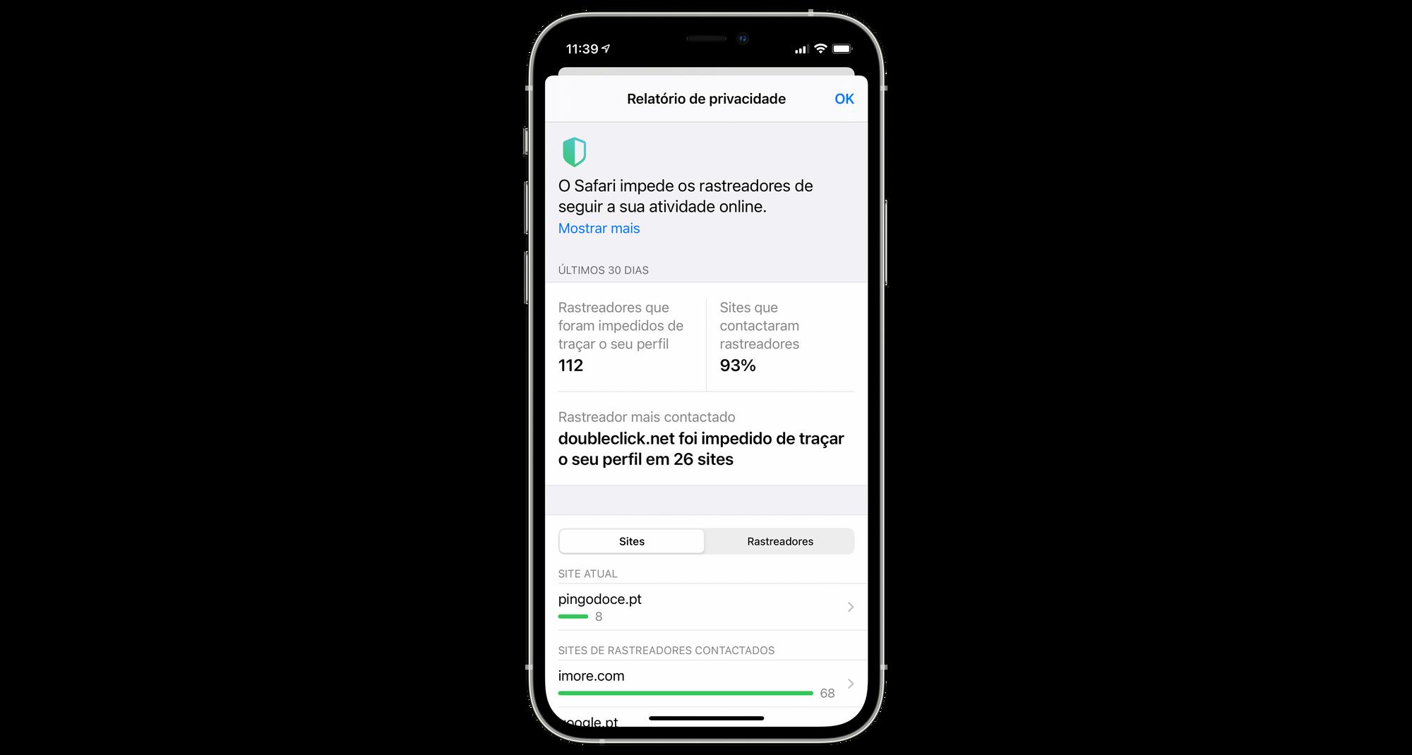Controlar a privacidade no Safari no iPhone