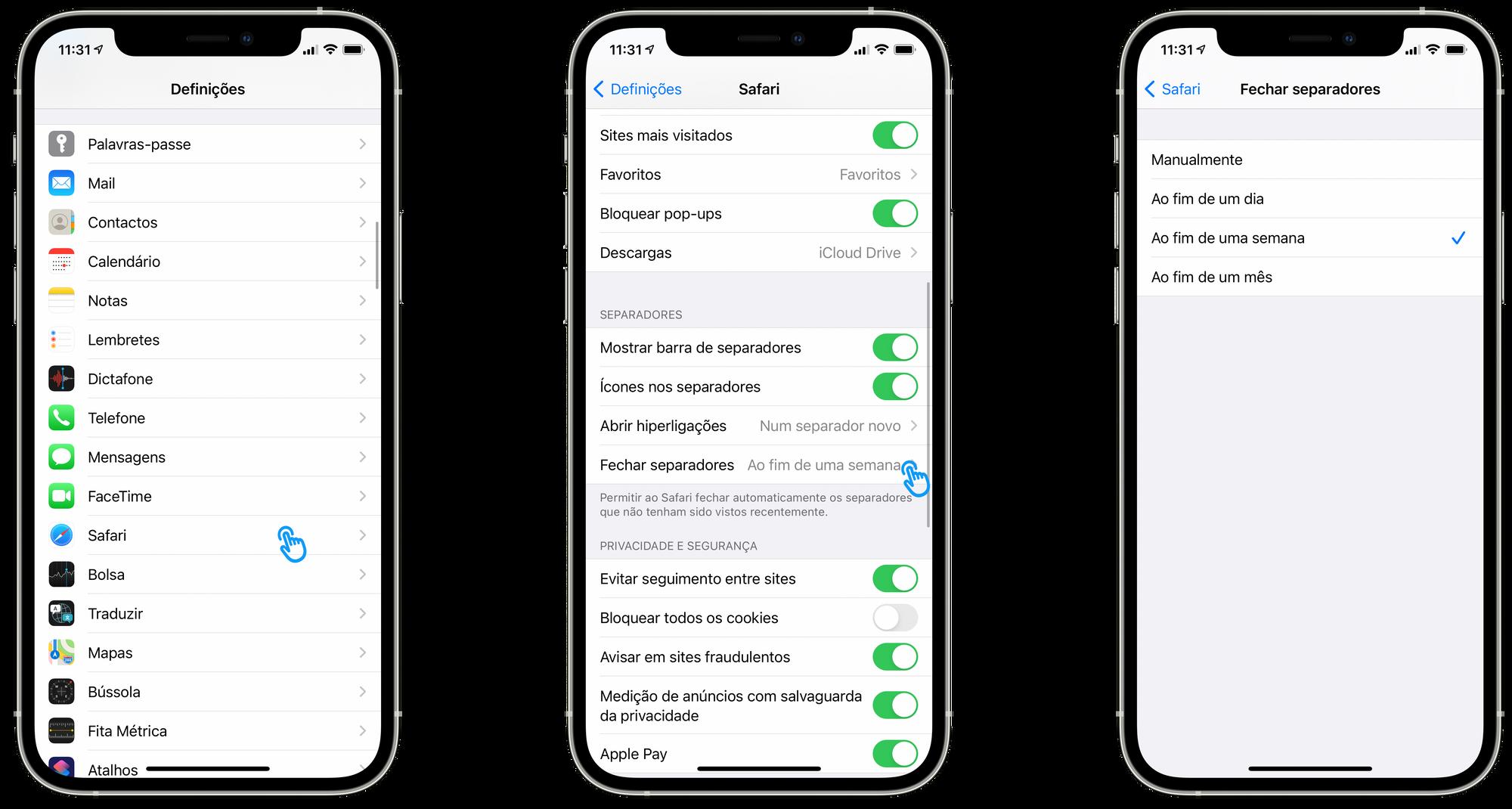 Fechar separadores automaticamente no Safari