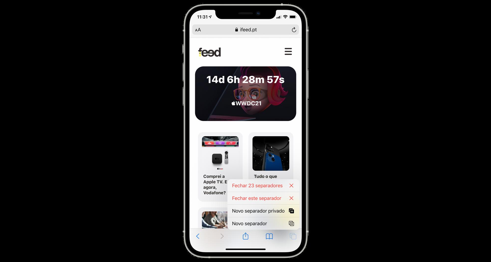 Fechar todos os separadores ao mesmo tempo no Safari no iPhone