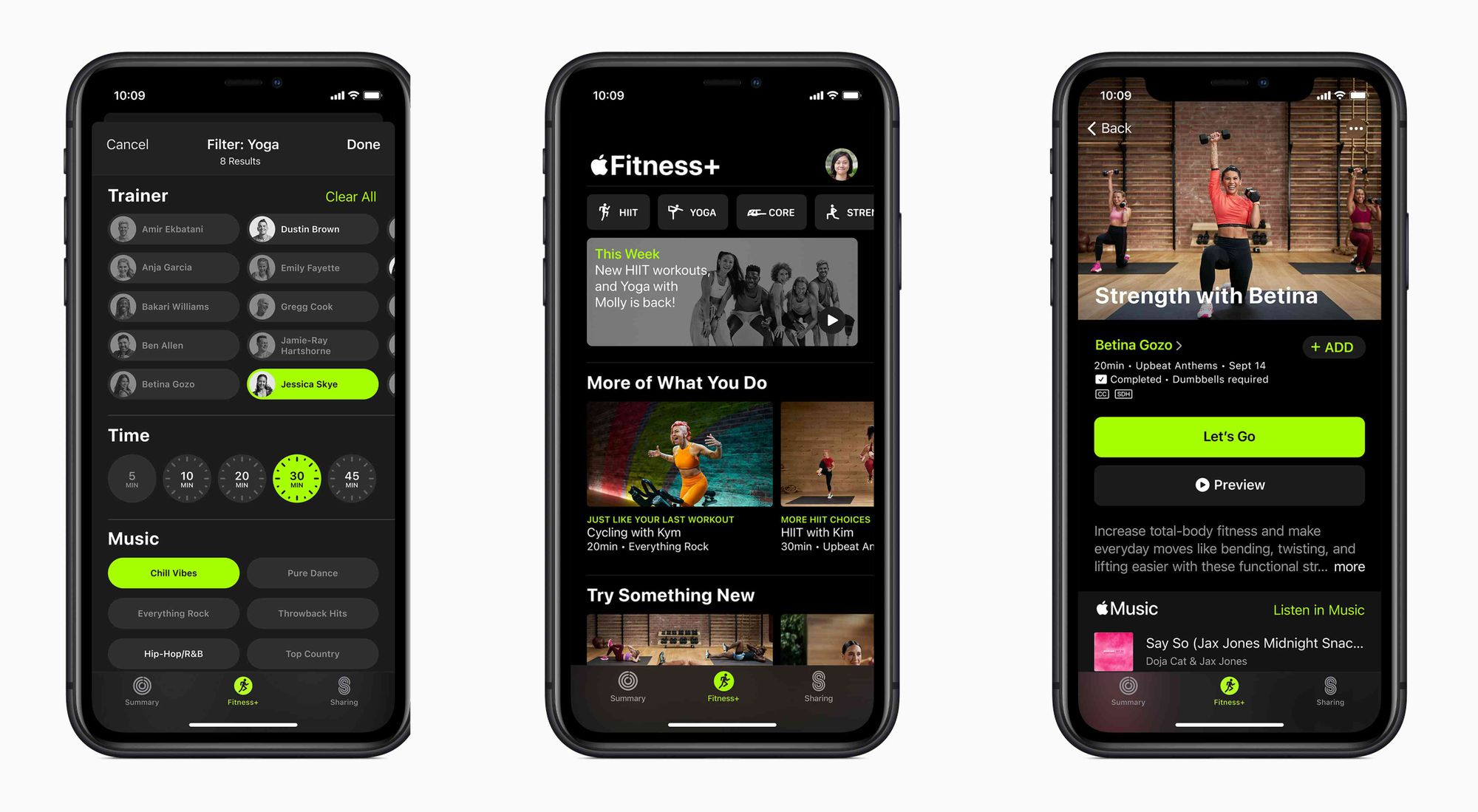Interface do Fitness+ no iPhone
