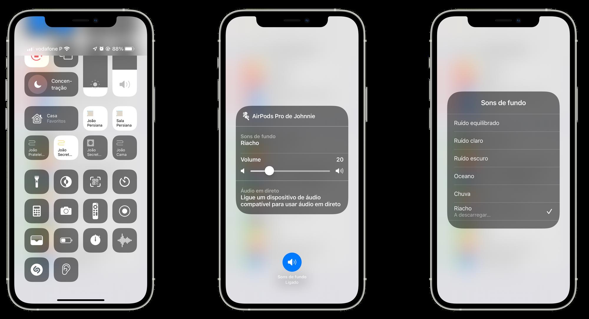 Como ativar os sons de fundo através da Central de Controlo no iOS 15