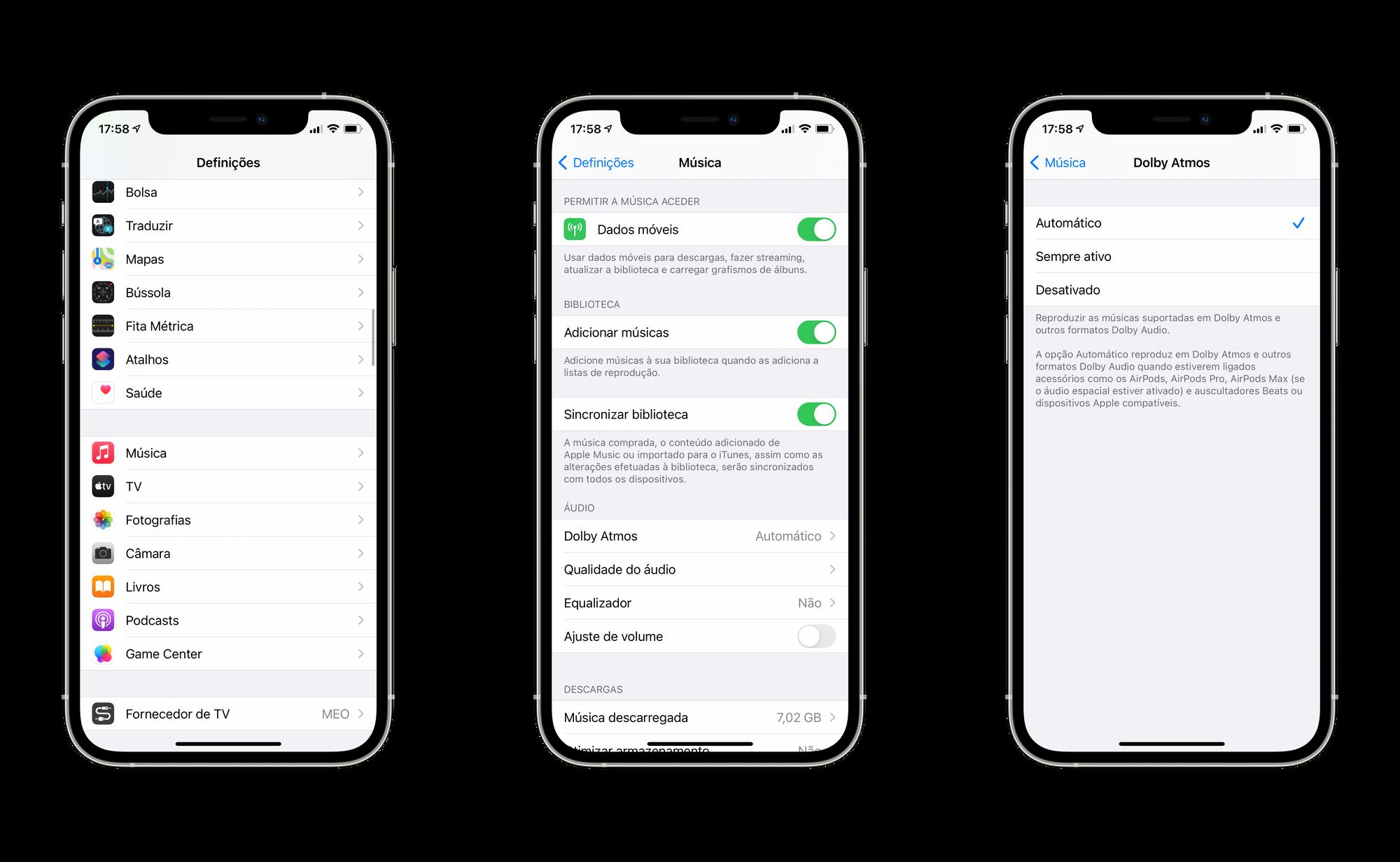 """Forçar o Áudio Espacial a estar """"sempre ativo"""" nas definições no iOS 14.6"""