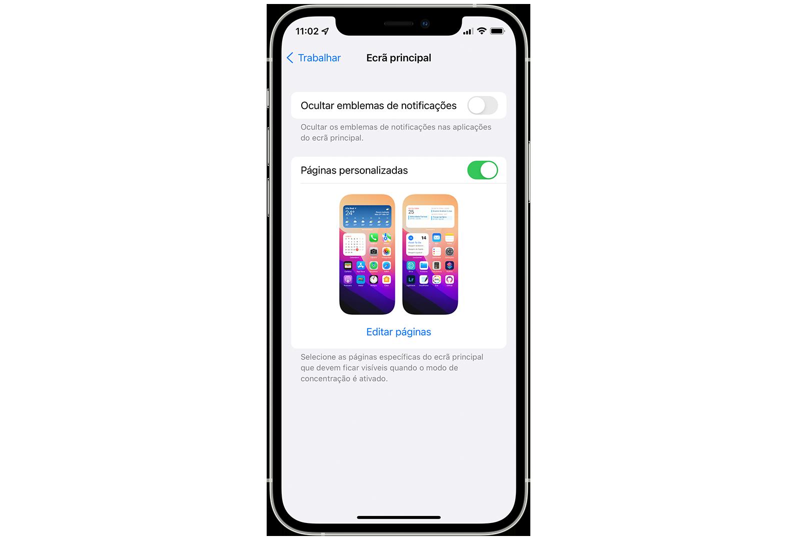 Thumbnails das páginas personalidades no moco de concentração no iOS 15 beta 2