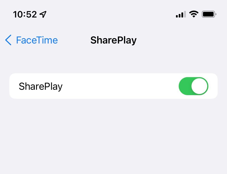 SharePlay no iOS 15 beta 2