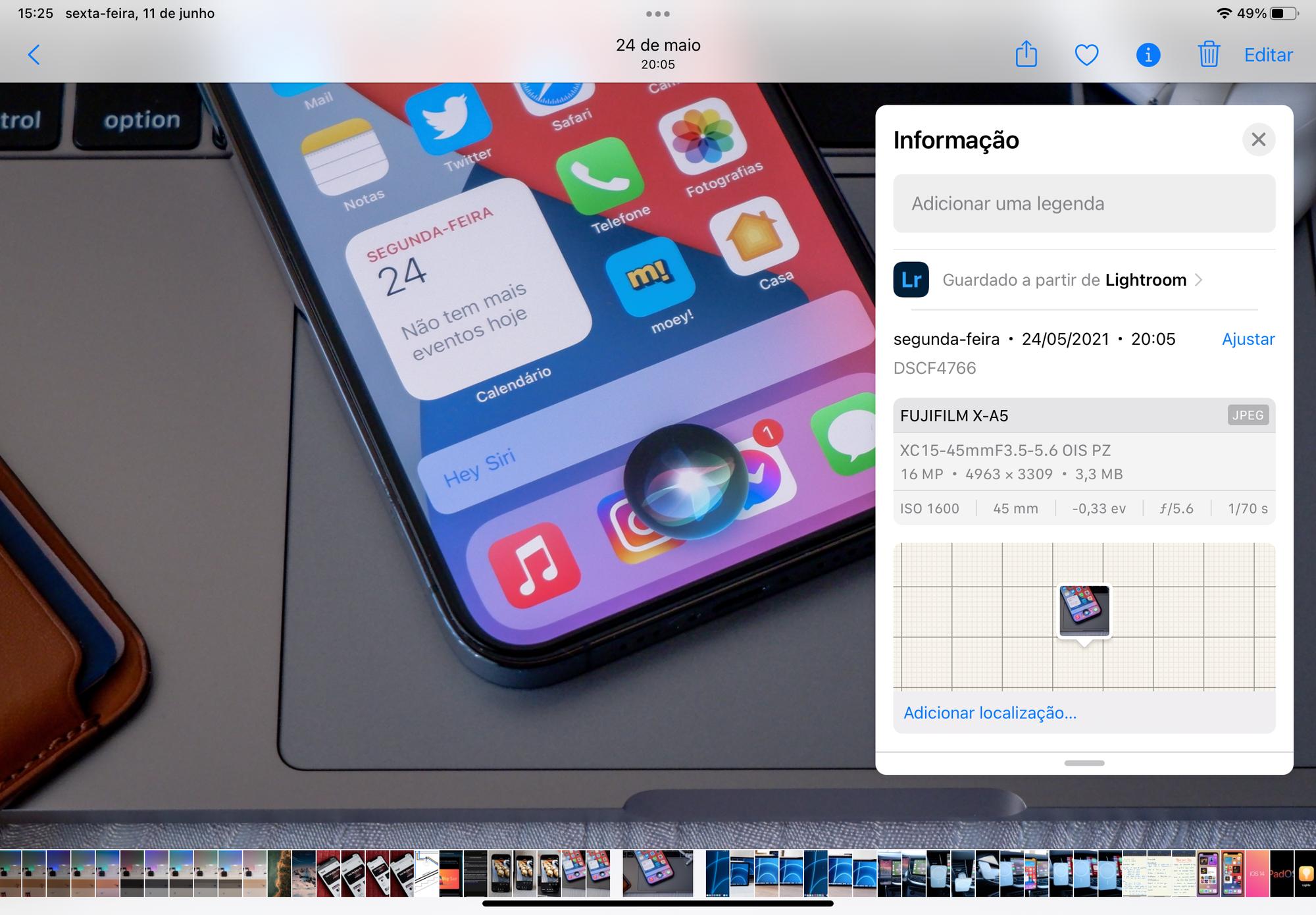 Informações de fotografias no iOS 15