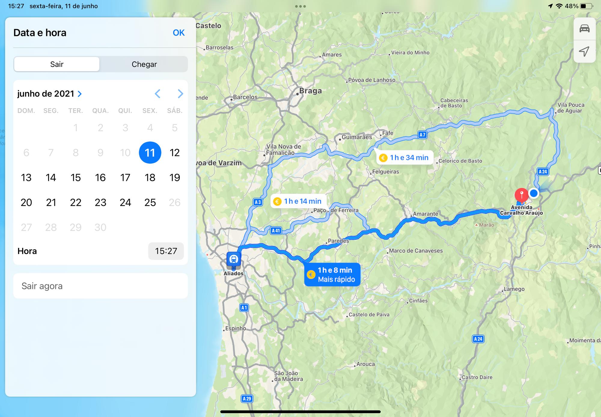 Escolher hora de destino ou chegada nos Mapas da Apple no iOS 15