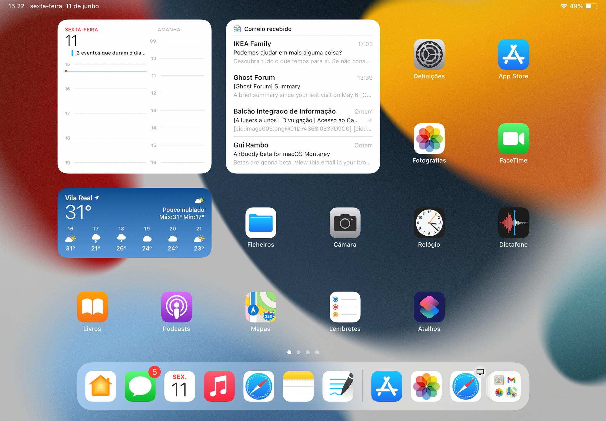 Widget da app Mail no iPadOS 15