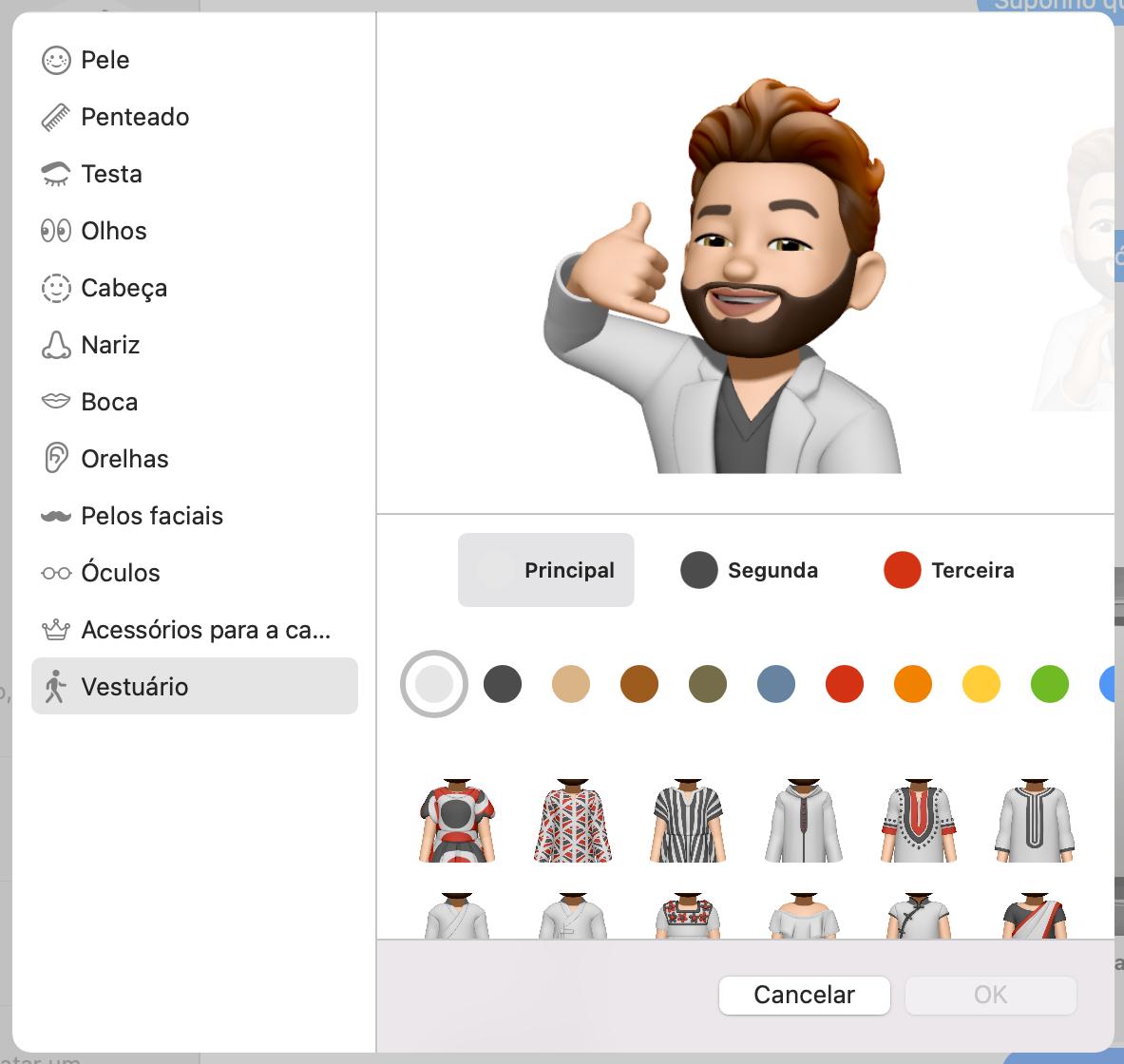 Vestuário de Memojis no beta 2 do macOS Monterey