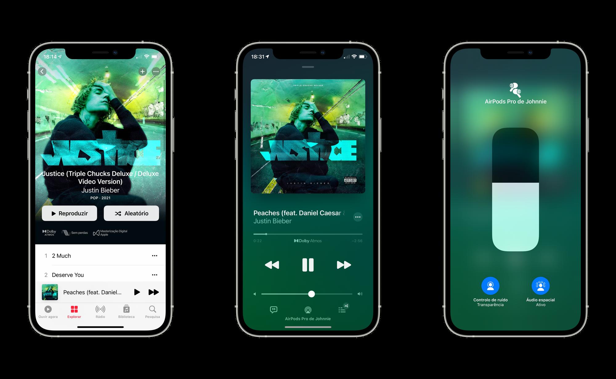 Música em Áudio Espacial no iPhone
