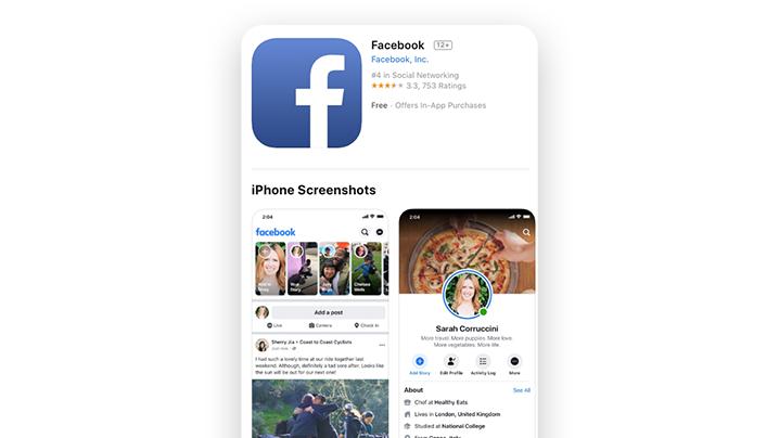 Aplicação do Facebook para iPhone
