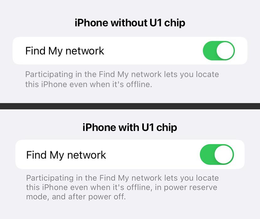 iPhone sem chip U1 (cima) e iPhone com chip U1 (baixo)