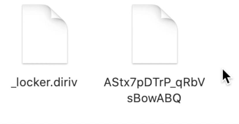 Aspeto dos ficheiros encriptados no Mac, fora da aplicação
